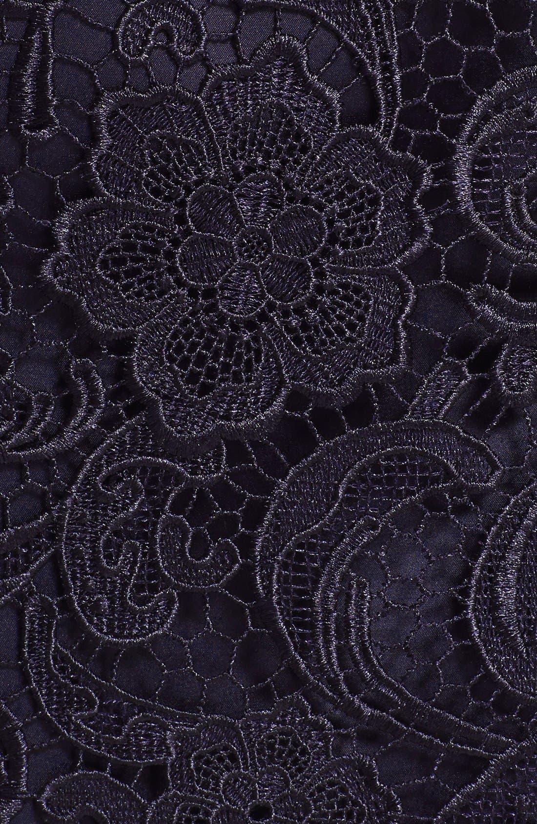 Illusion Bodice Lace Sheath Dress,                             Alternate thumbnail 6, color,                             412