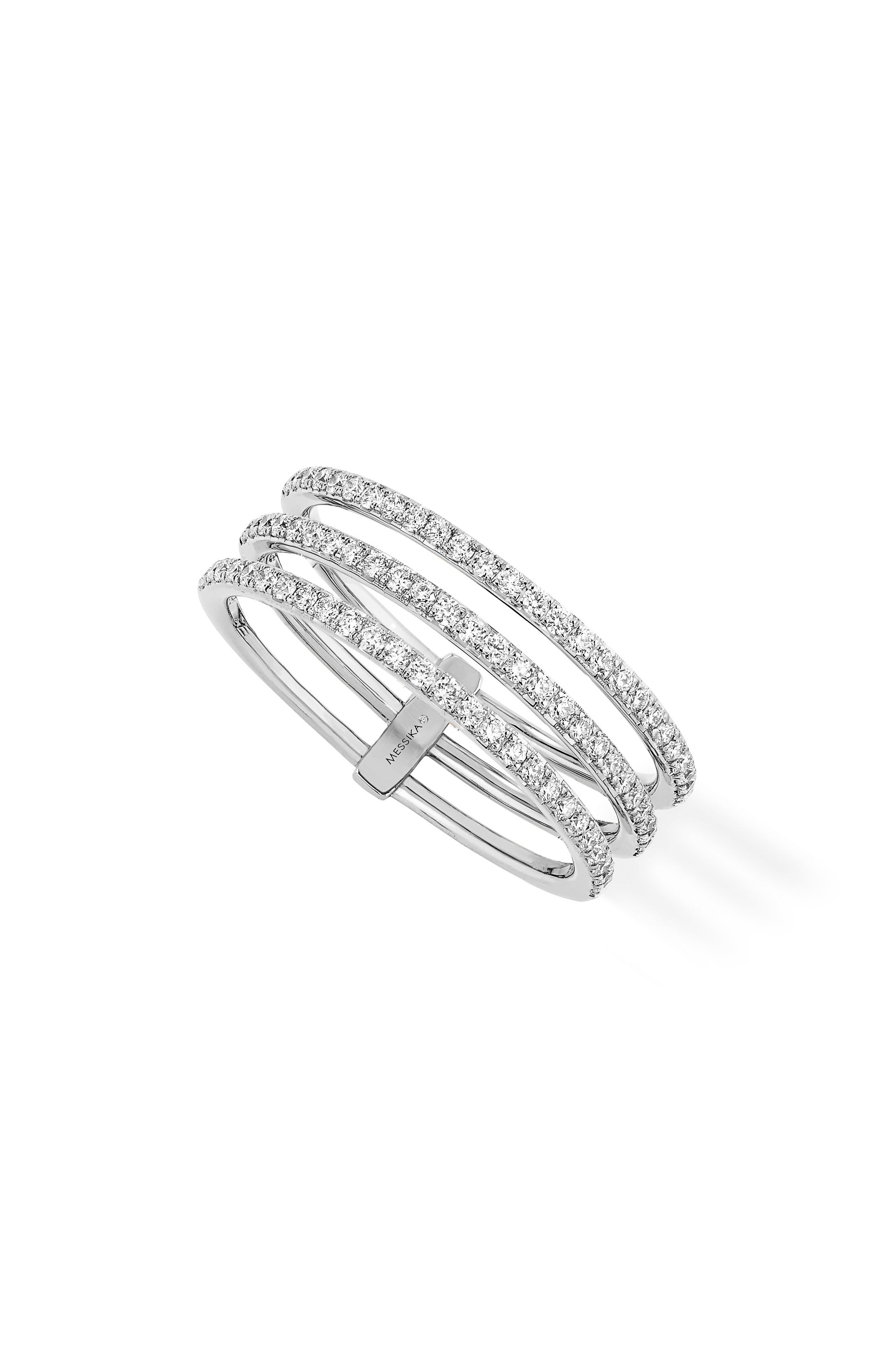 3-Row Diamond Ring,                         Main,                         color, WHITE GOLD
