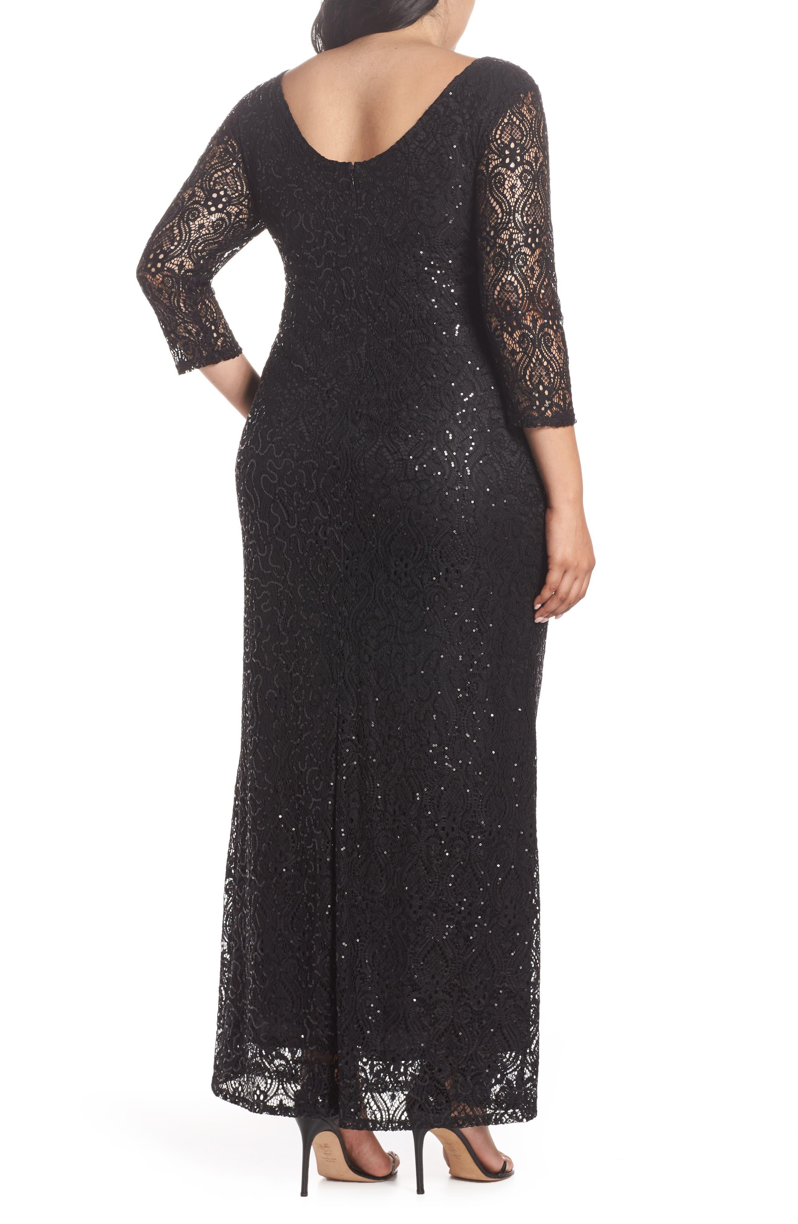 Sequin Lace A-Line Gown,                             Alternate thumbnail 2, color,                             001