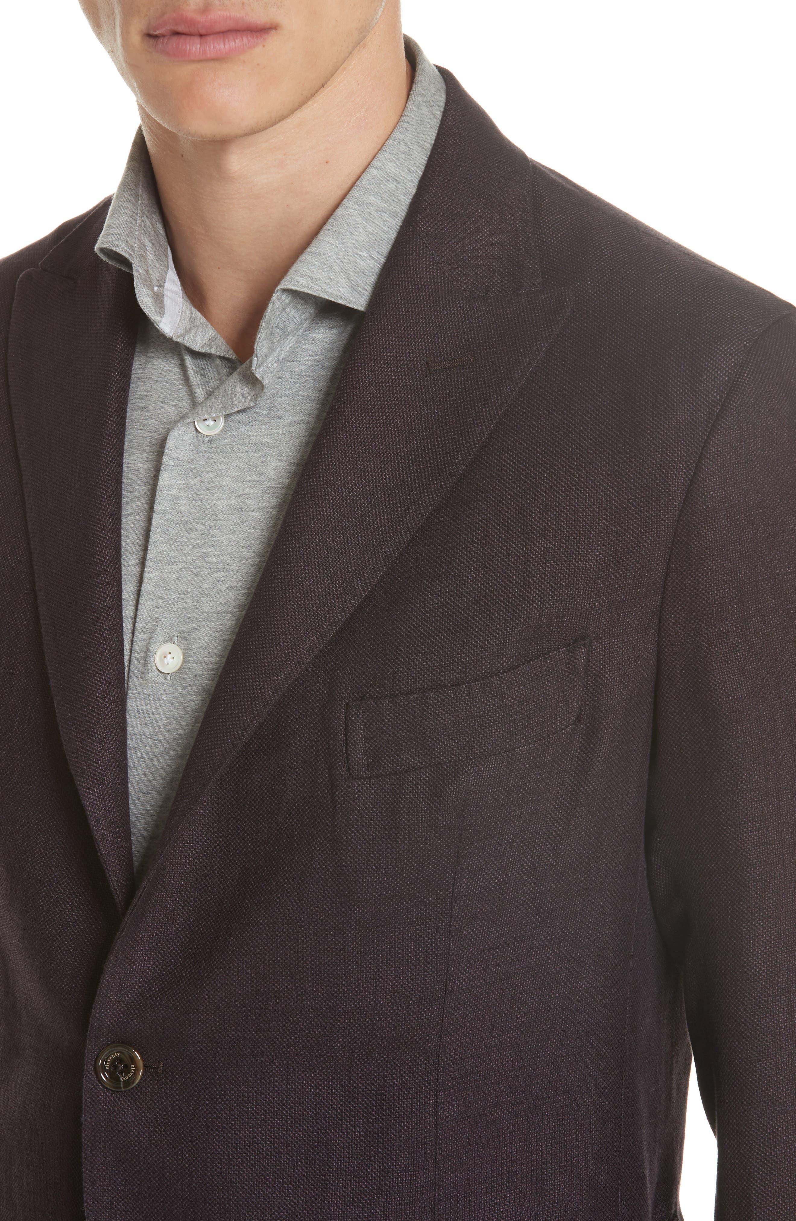 Trim Fit Linen Blend Blazer,                             Alternate thumbnail 4, color,                             500
