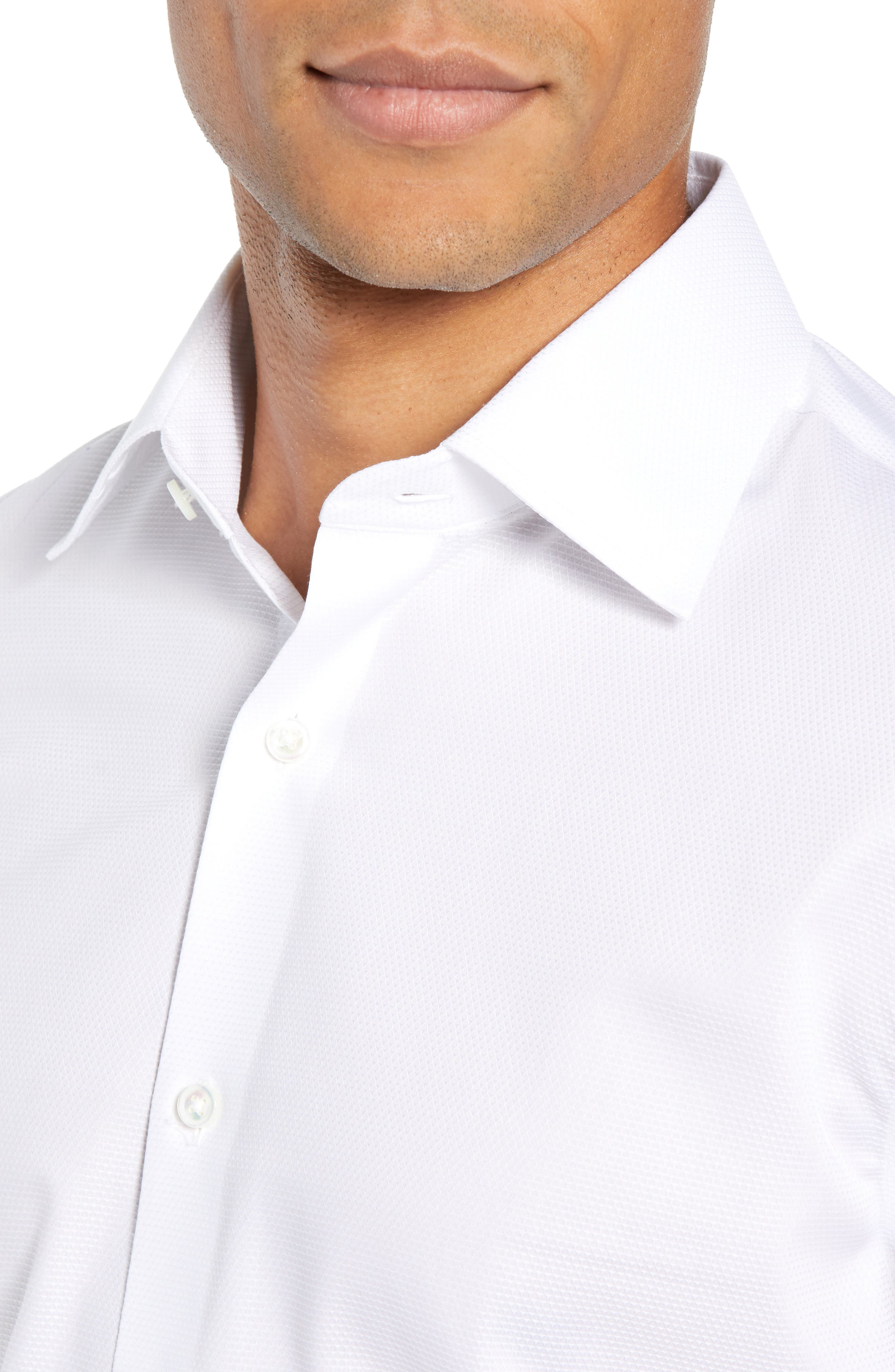 Slim Fit Solid Dress Shirt,                             Alternate thumbnail 2, color,                             WHITE