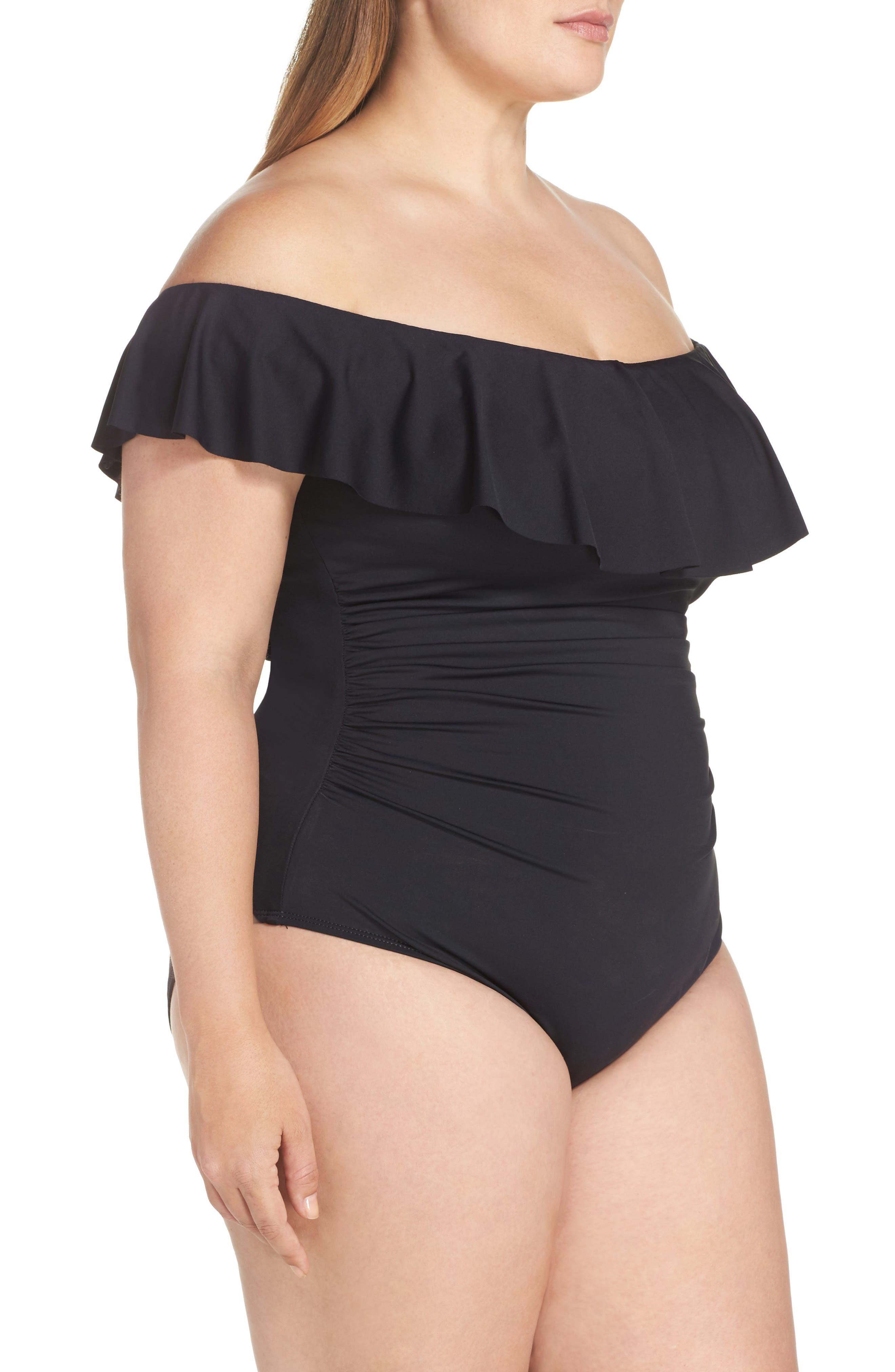 Off the Shoulder One-Piece Swimsuit,                             Alternate thumbnail 3, color,                             BLACK