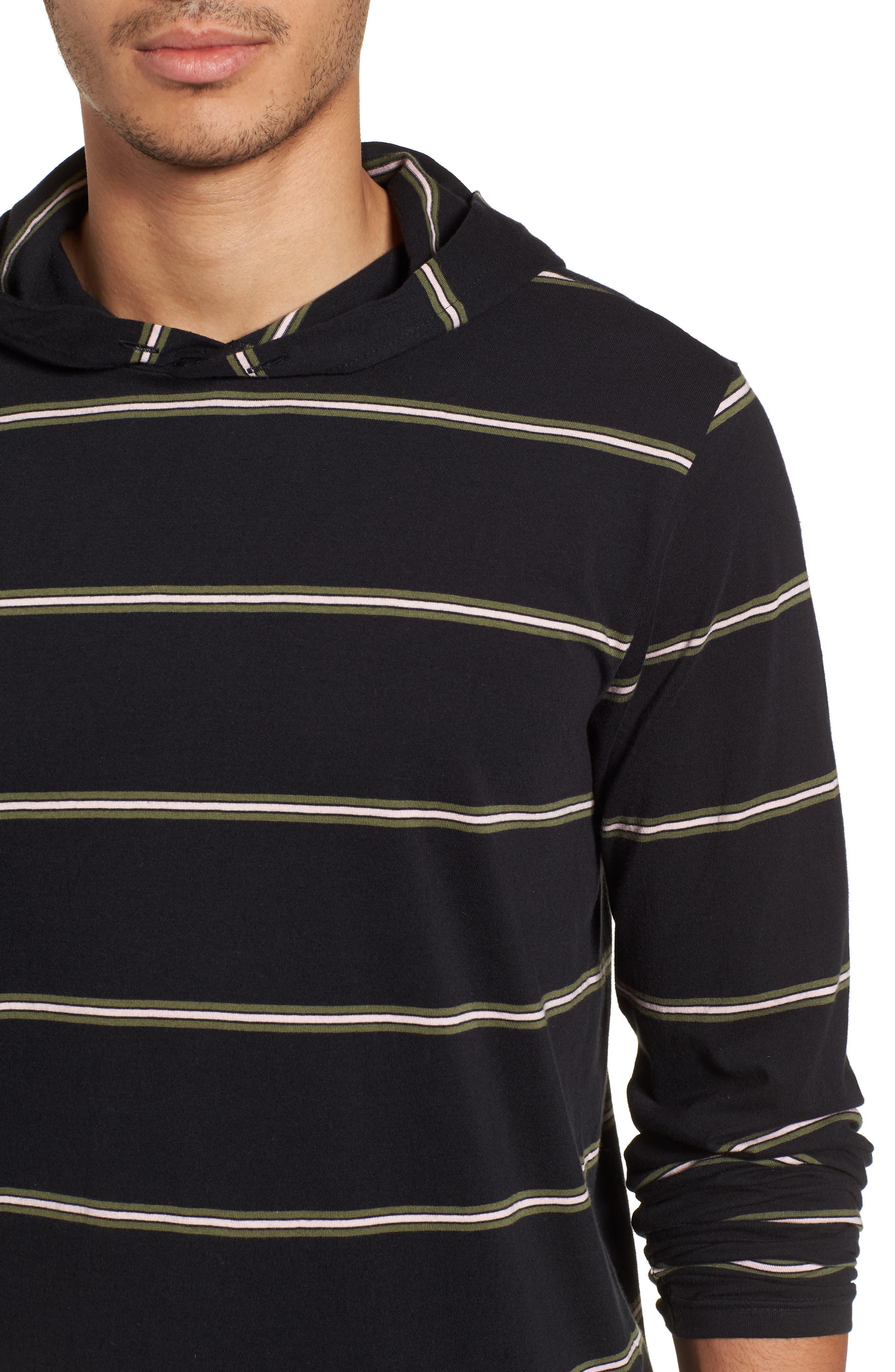 Die Cut Hooded Long Sleeve T-Shirt,                             Alternate thumbnail 4, color,                             001