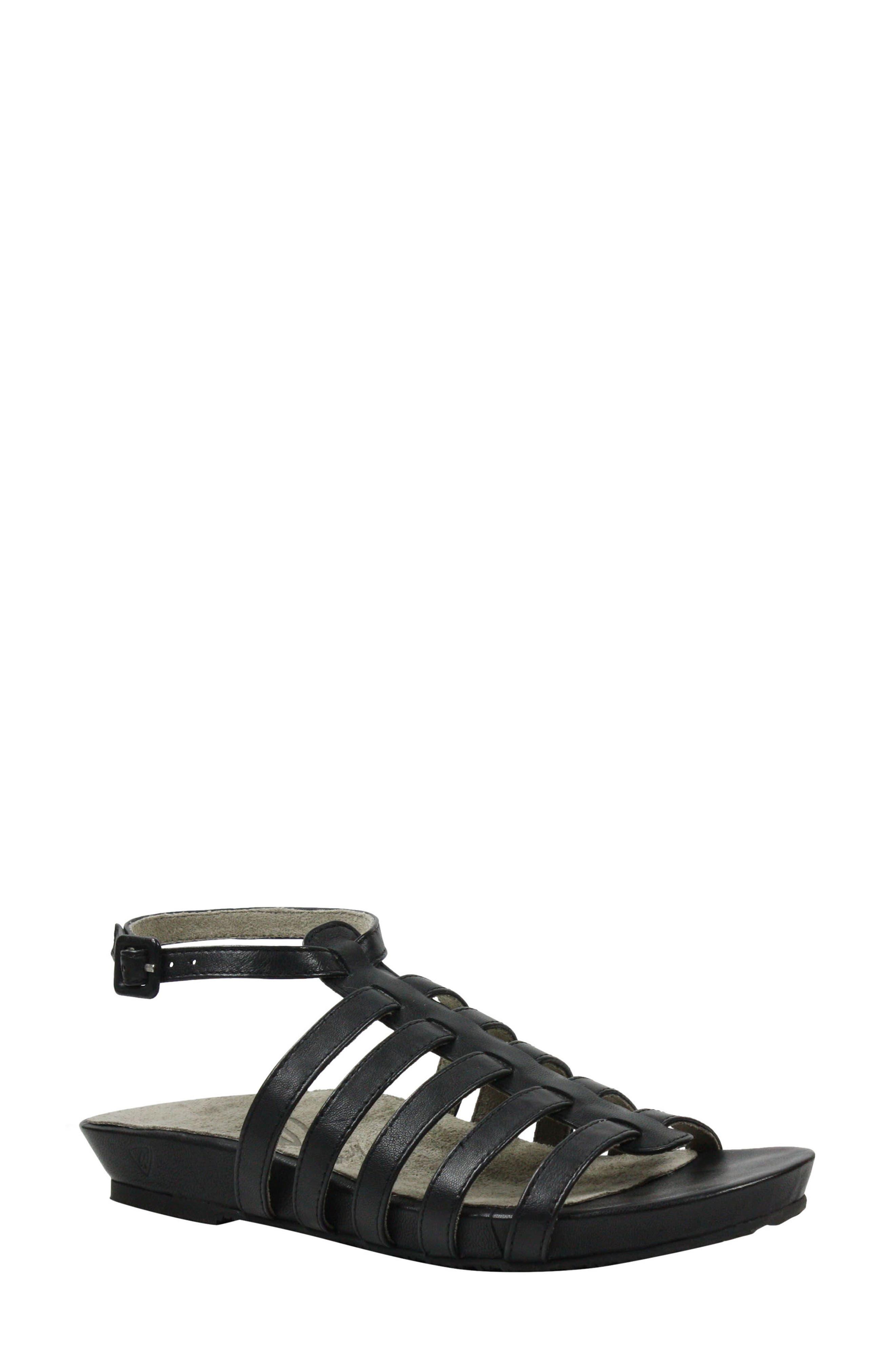Delmor Ankle Strap Sandal,                         Main,                         color, BLACK LEATHER