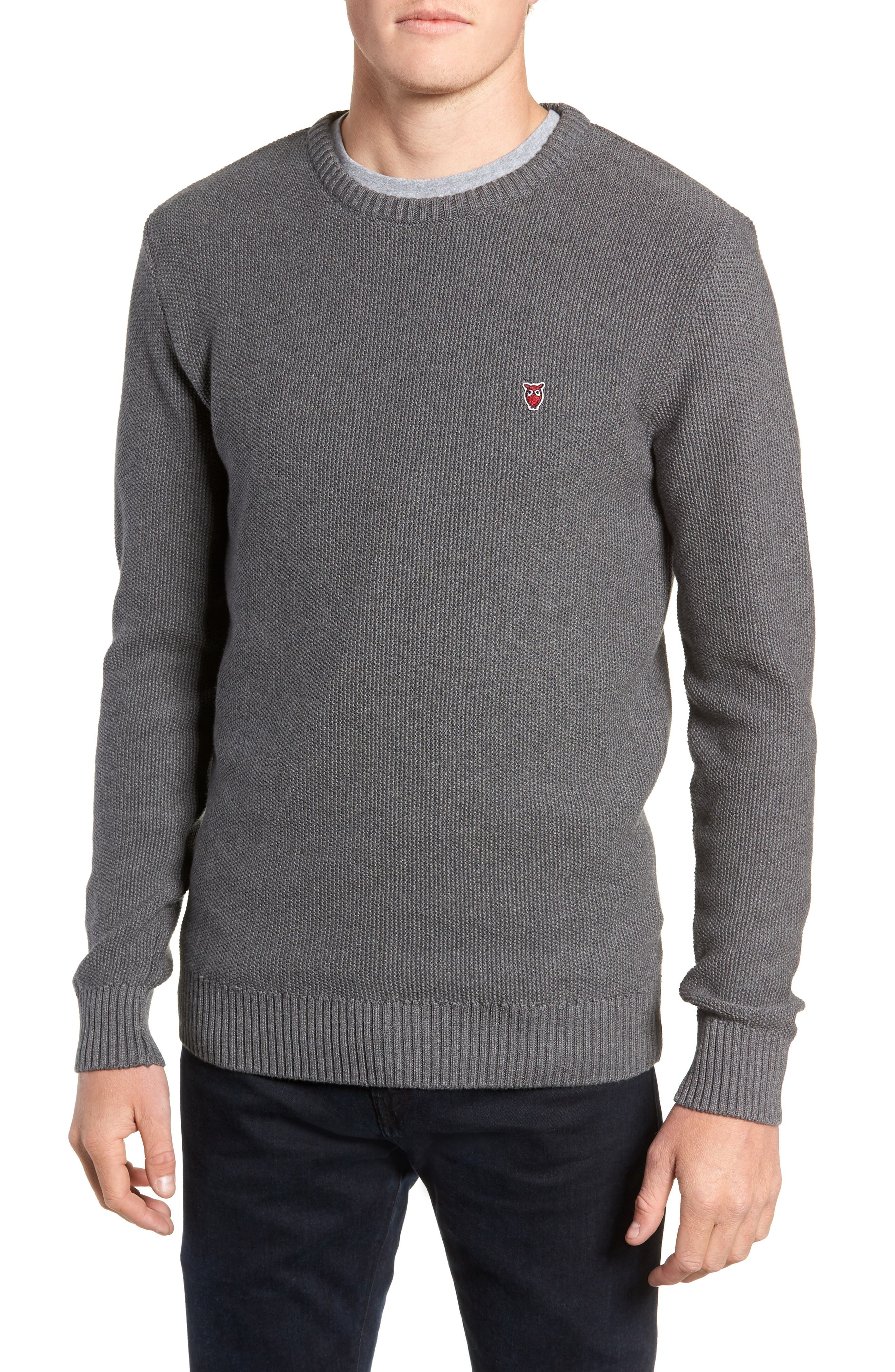 Owl Textured Sweater,                             Main thumbnail 1, color,                             GREY MELANGE