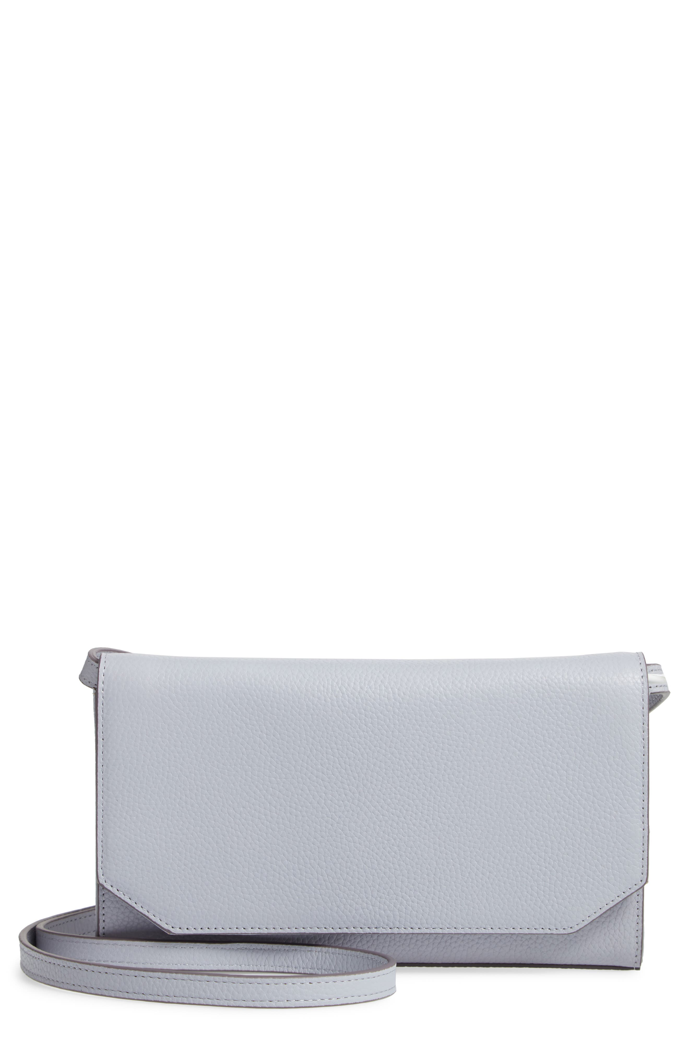 Leather Wallet on a Strap,                         Main,                         color, GREY LILAC