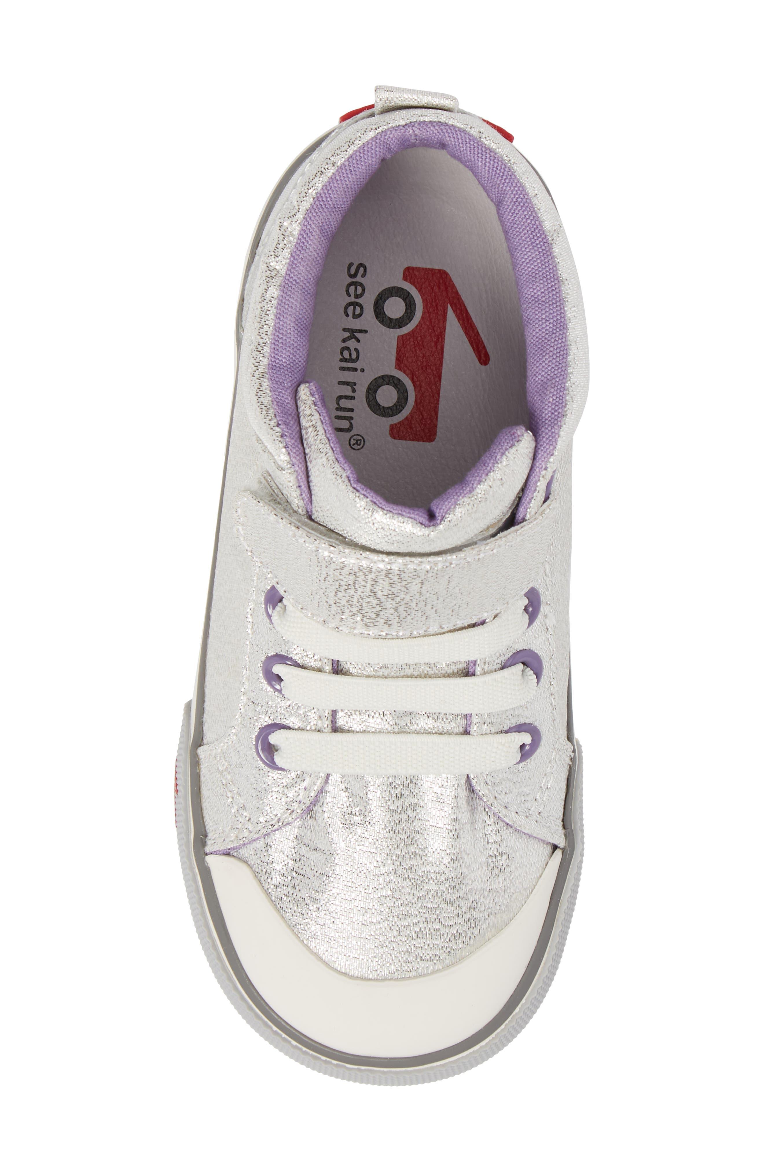 Peyton Metallic Mid Top Sneaker,                             Alternate thumbnail 5, color,                             SILVER GLITTER