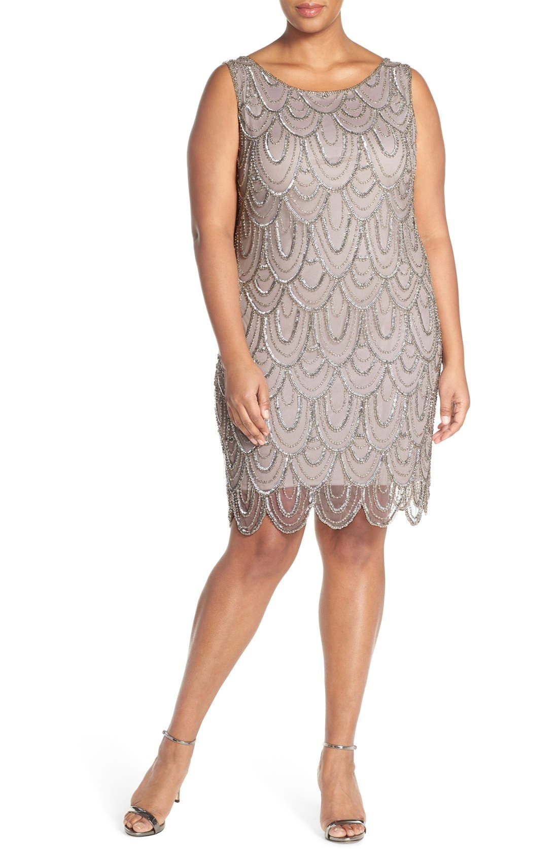Beaded Sheath Dress,                             Main thumbnail 6, color,