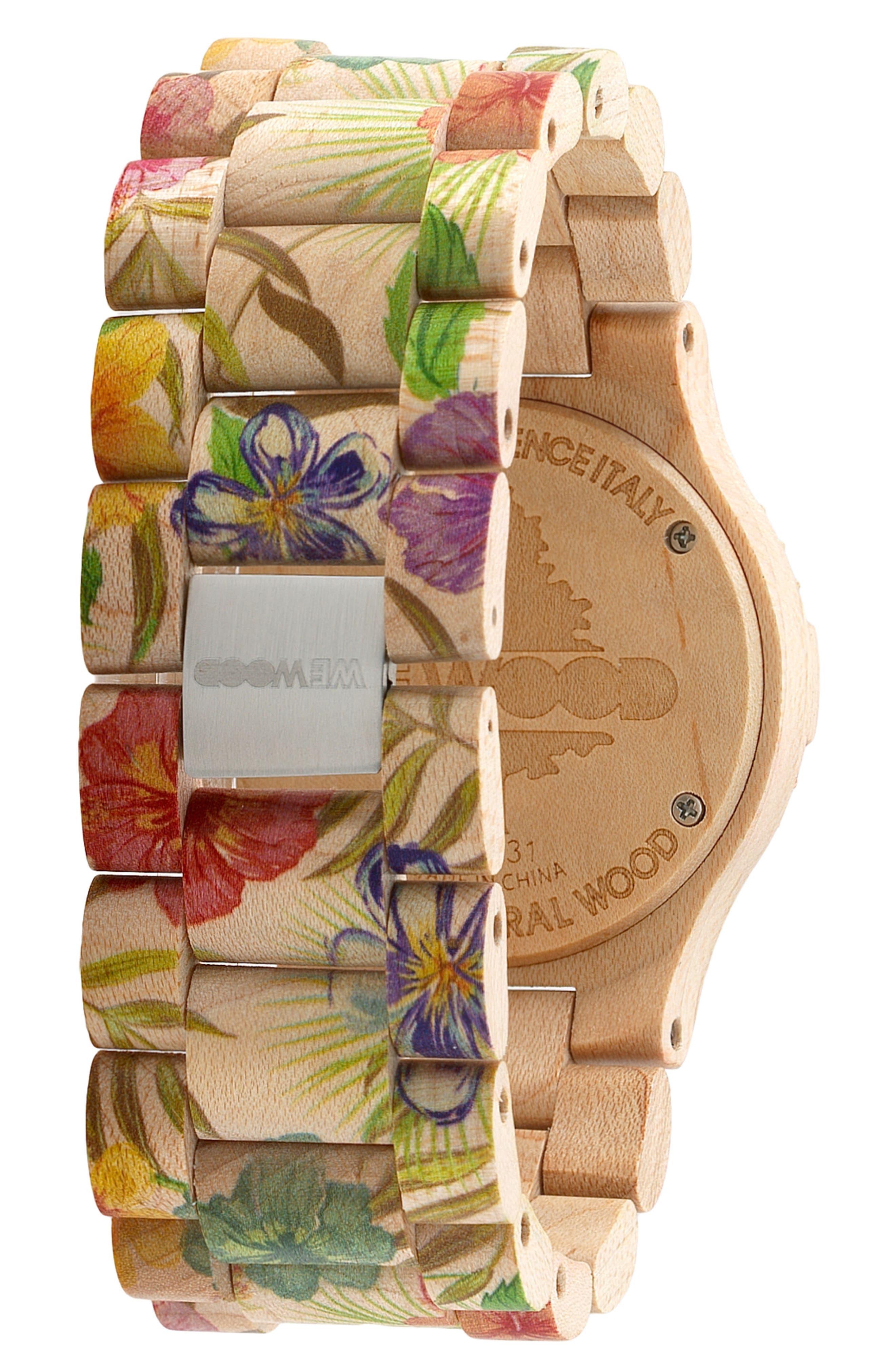 Date Wood Bracelet Watch, 42mm,                             Alternate thumbnail 2, color,                             250