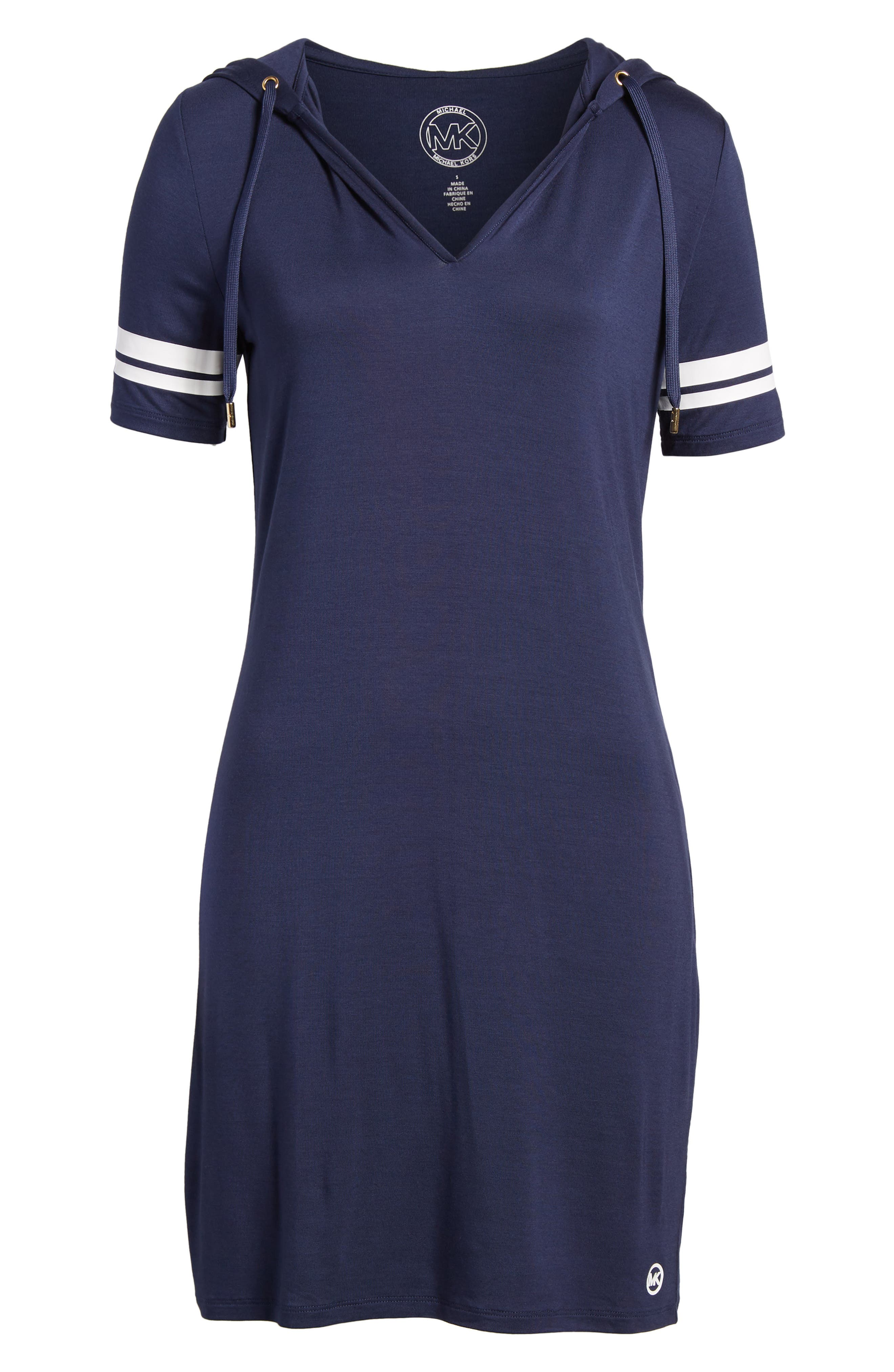 MICHAEL Michal Kors Stripe Sleeve Hoodie Dress,                             Alternate thumbnail 13, color,