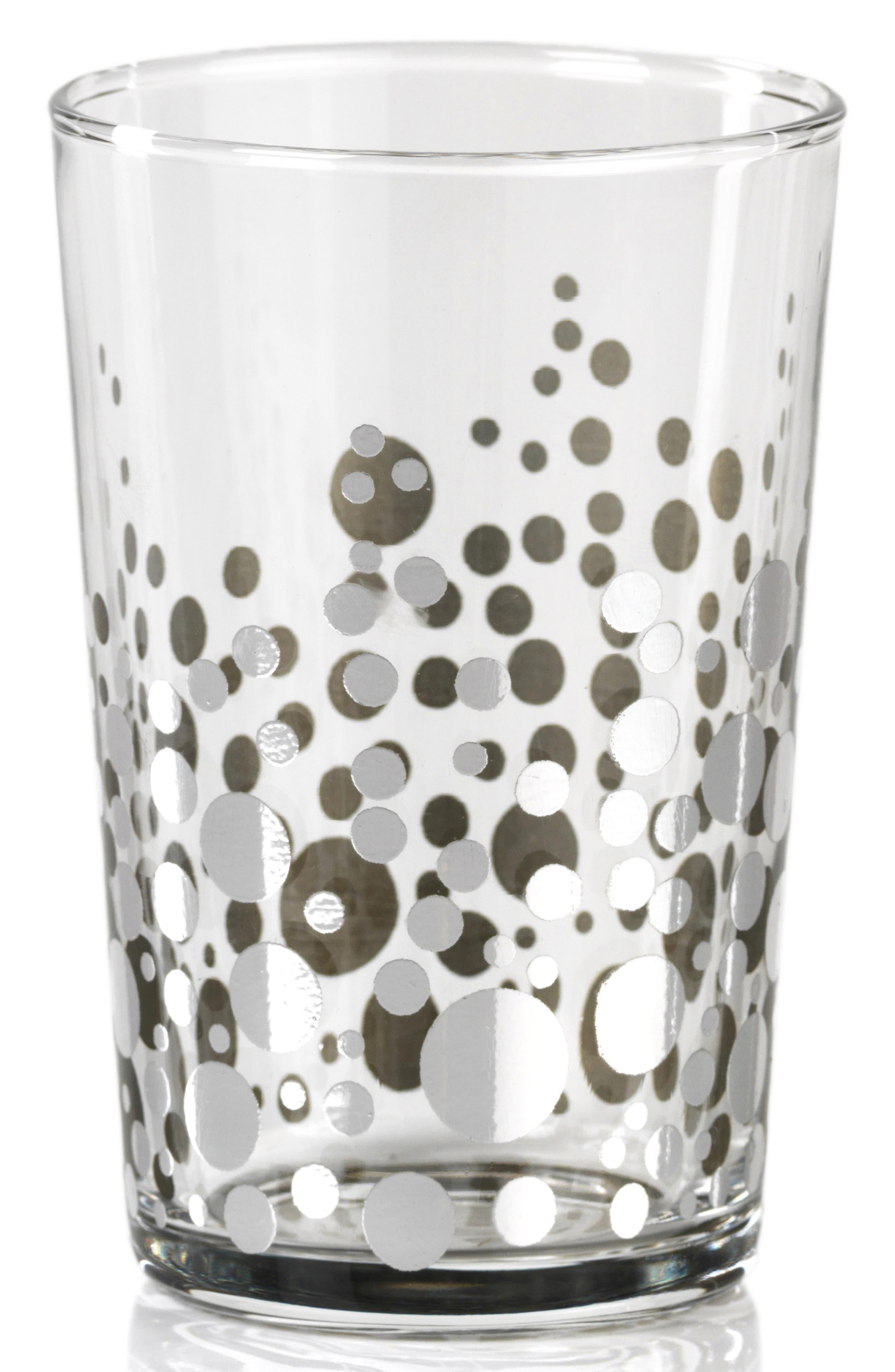 Set of 6 Dot Design Glass Tealight Candleholders, Main, color, SILVER