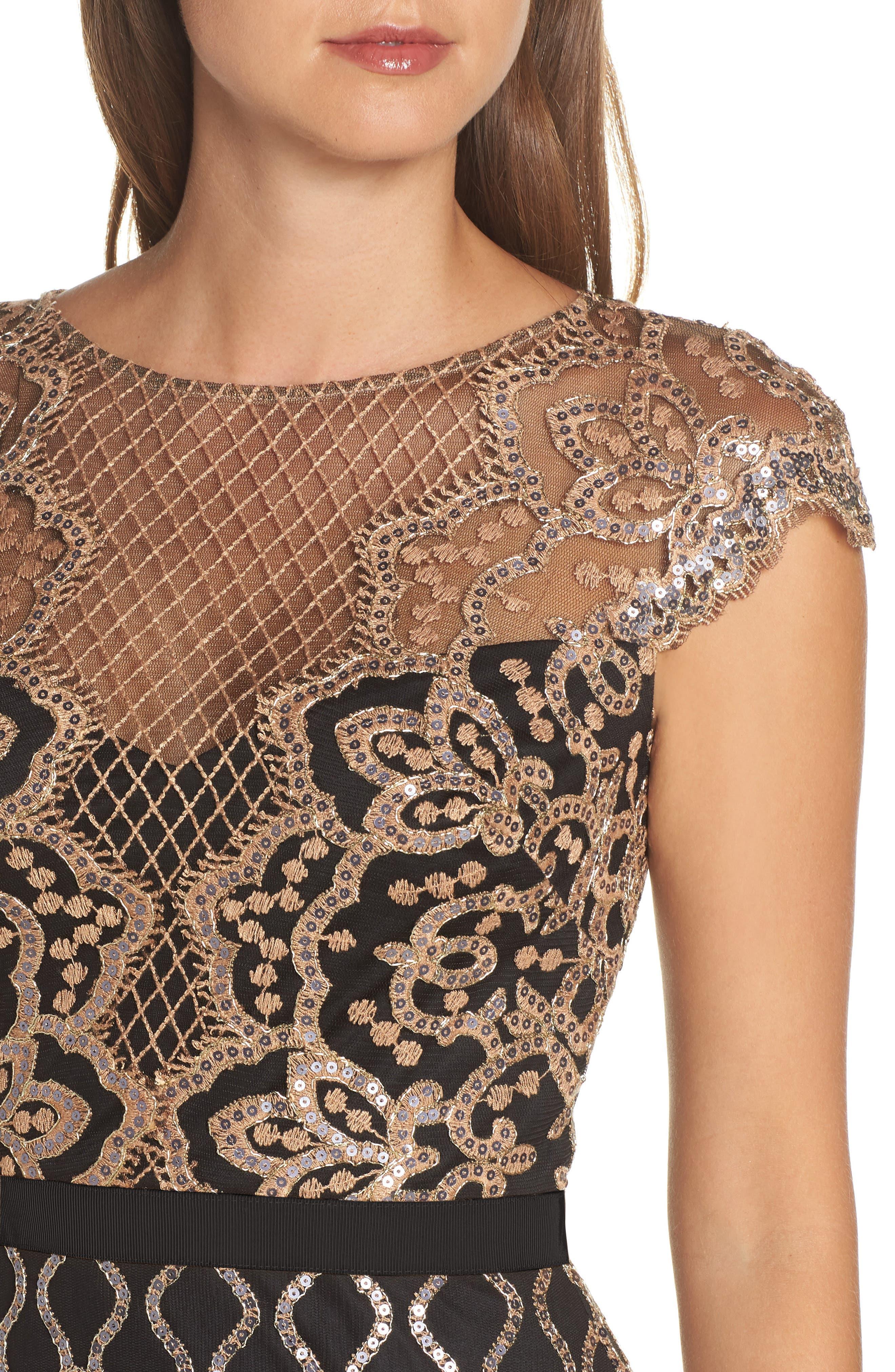 Sequin Embellished Dress,                             Alternate thumbnail 4, color,                             COPPER SHADOW/ BLACK