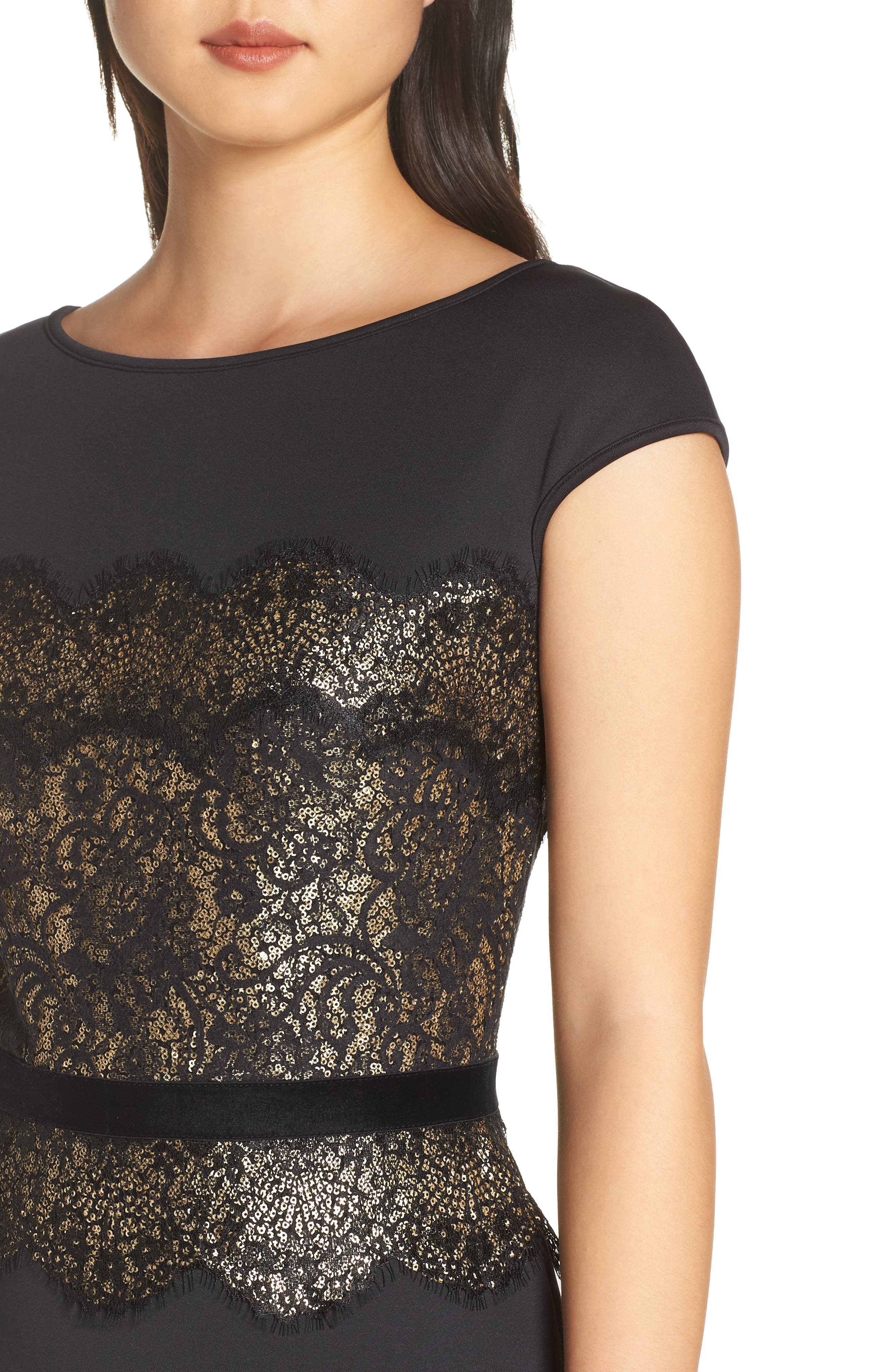 Lace Inset Scuba Dress,                             Alternate thumbnail 6, color,                             BLACK/ GOLD