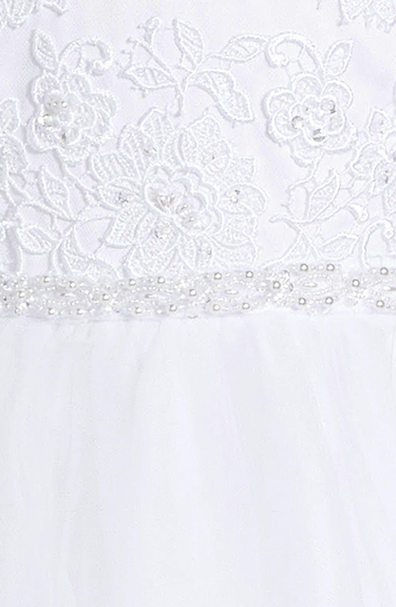 Floral Appliqué First Communion Dress,                             Alternate thumbnail 3, color,                             100