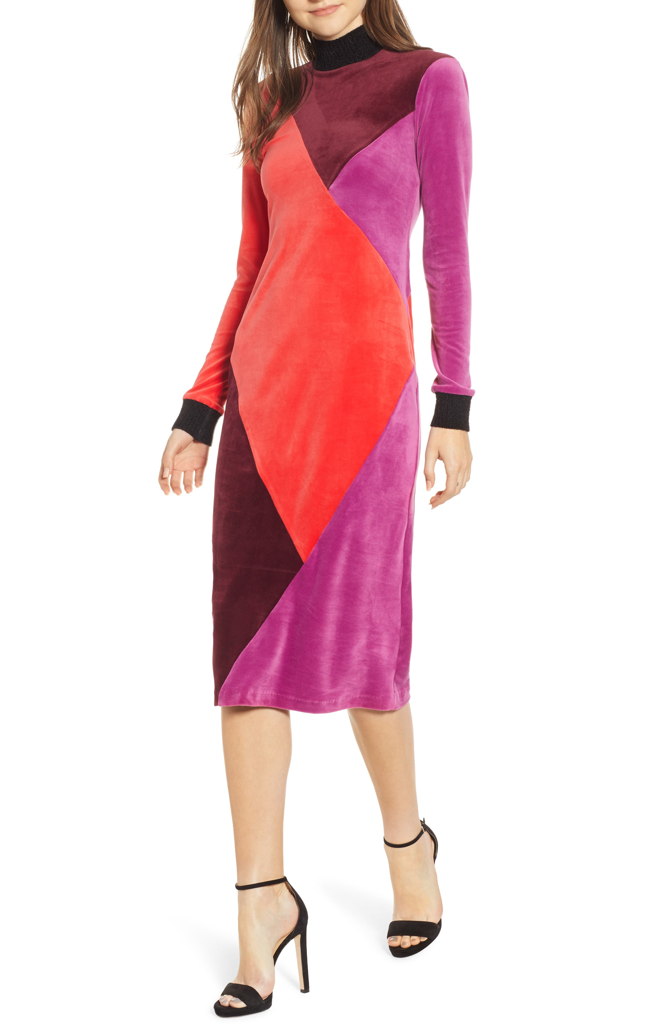 Velluto Velour Midi Dress,                             Main thumbnail 1, color,                             BORGOGNA