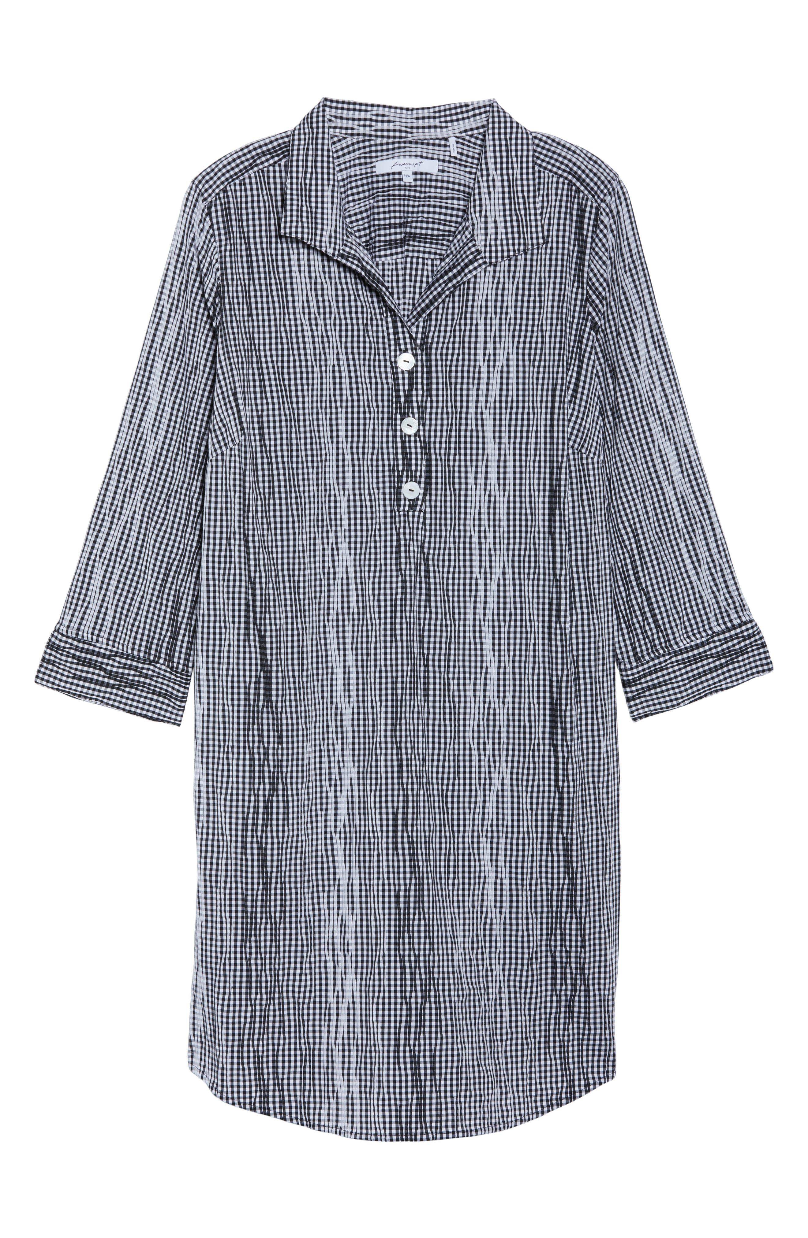 Miri Crinkle Gingham Shirtdress,                             Alternate thumbnail 6, color,                             001