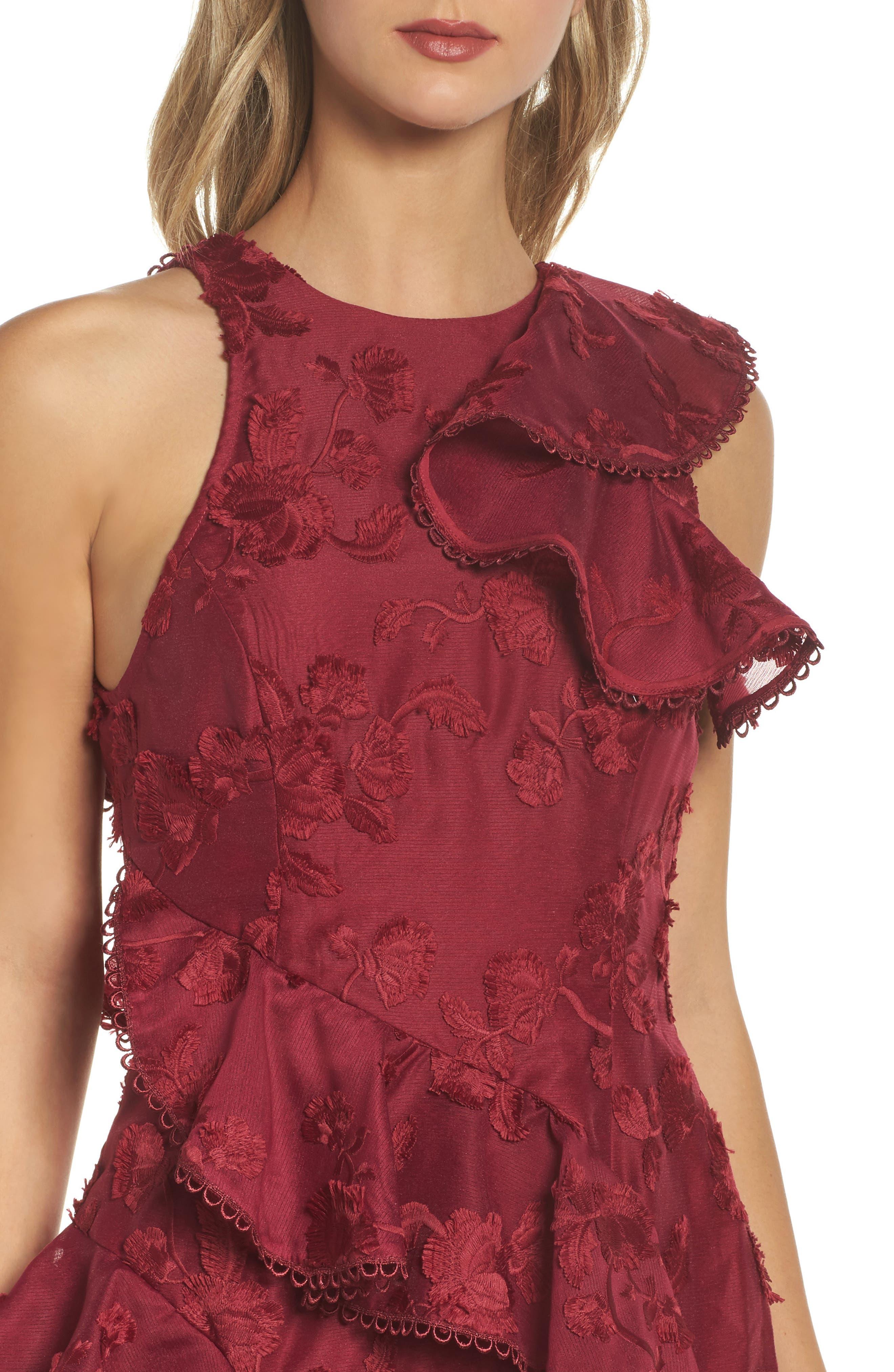 Shine Ruffle Lace Tea Length Dress,                             Alternate thumbnail 4, color,                             621