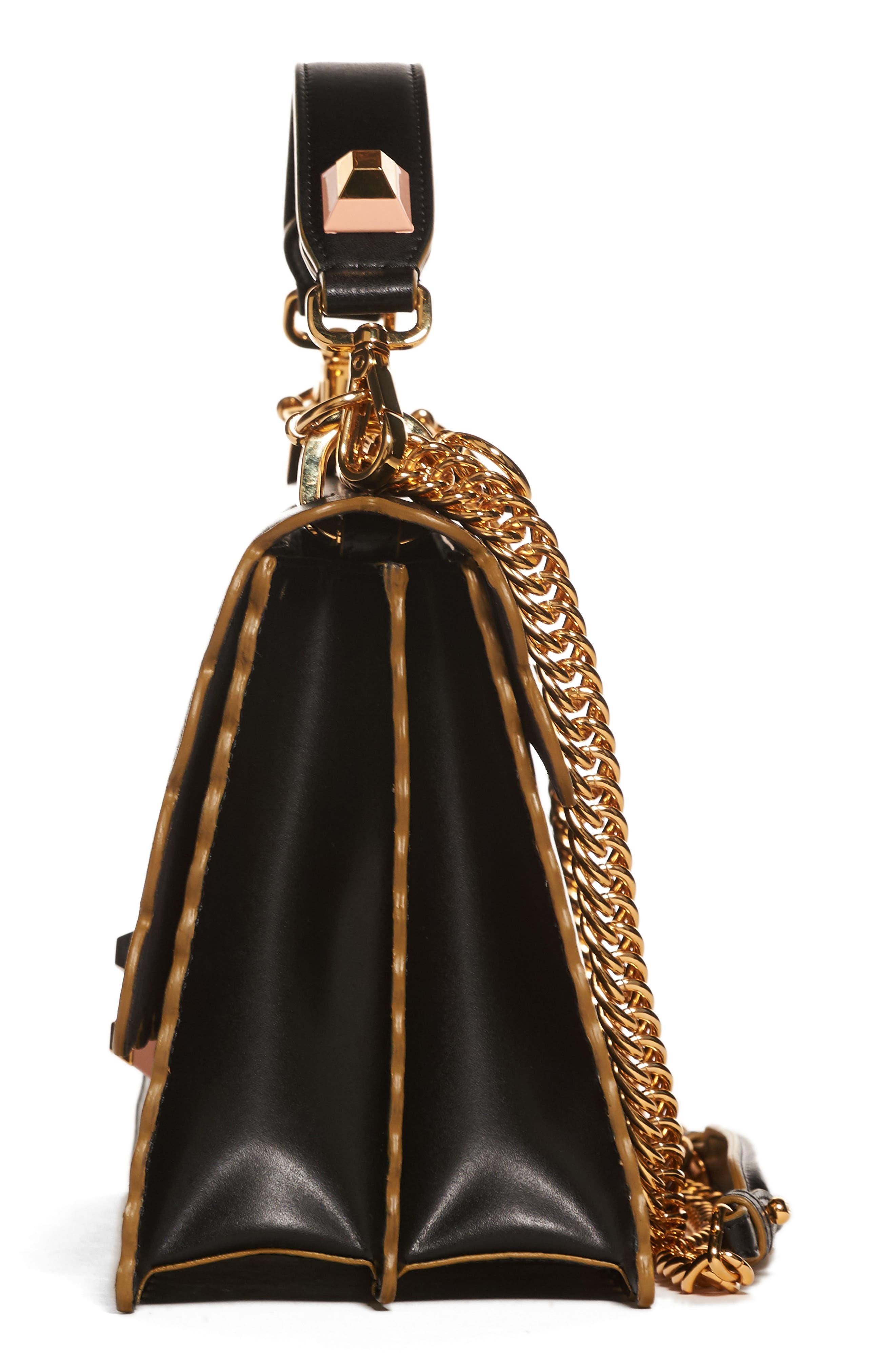 Kan I Scallop Leather Shoulder Bag,                             Alternate thumbnail 4, color,                             BLACK