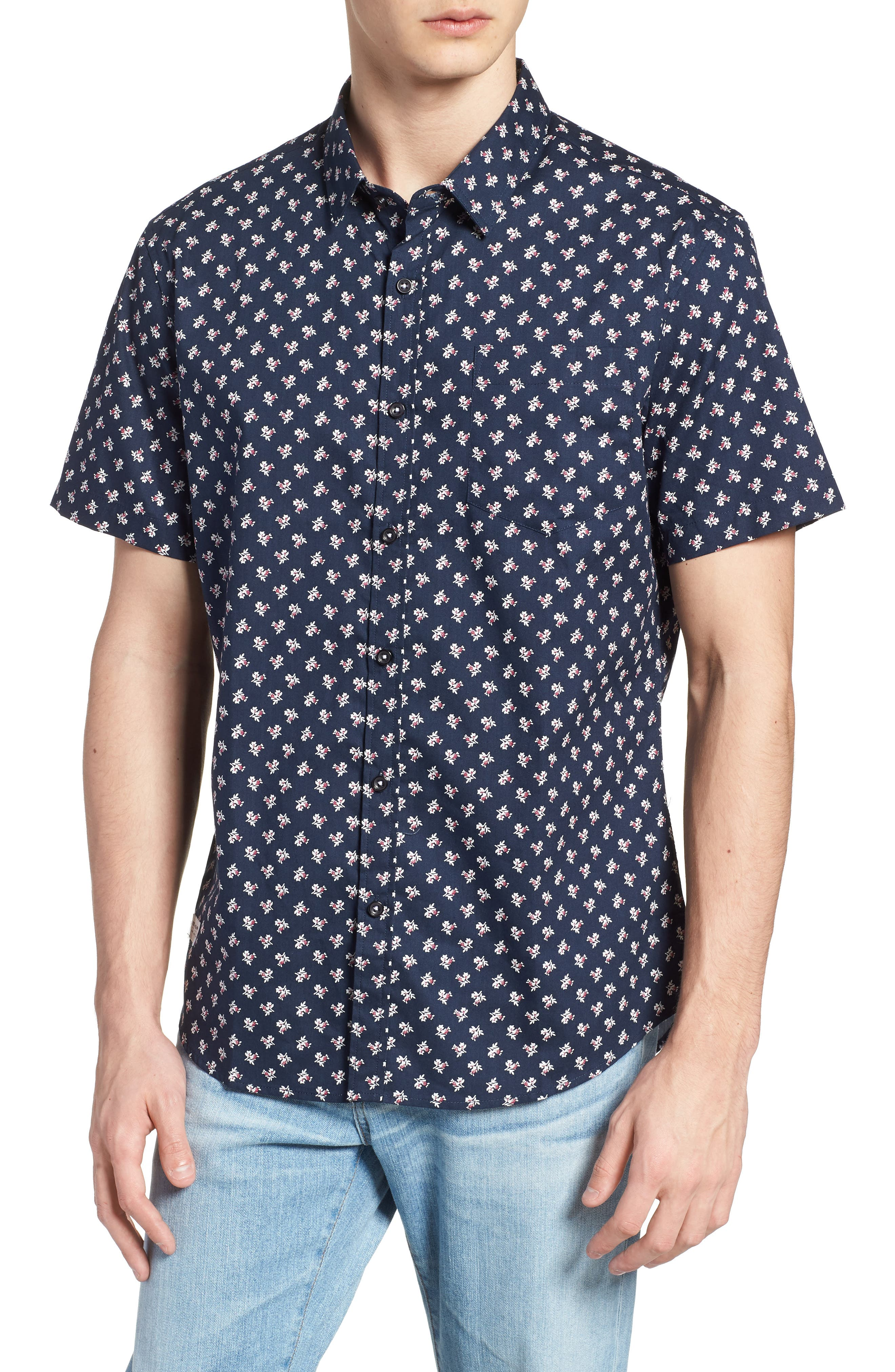 'Crossfire' Floral Print Short Sleeve Woven Shirt,                             Main thumbnail 1, color,