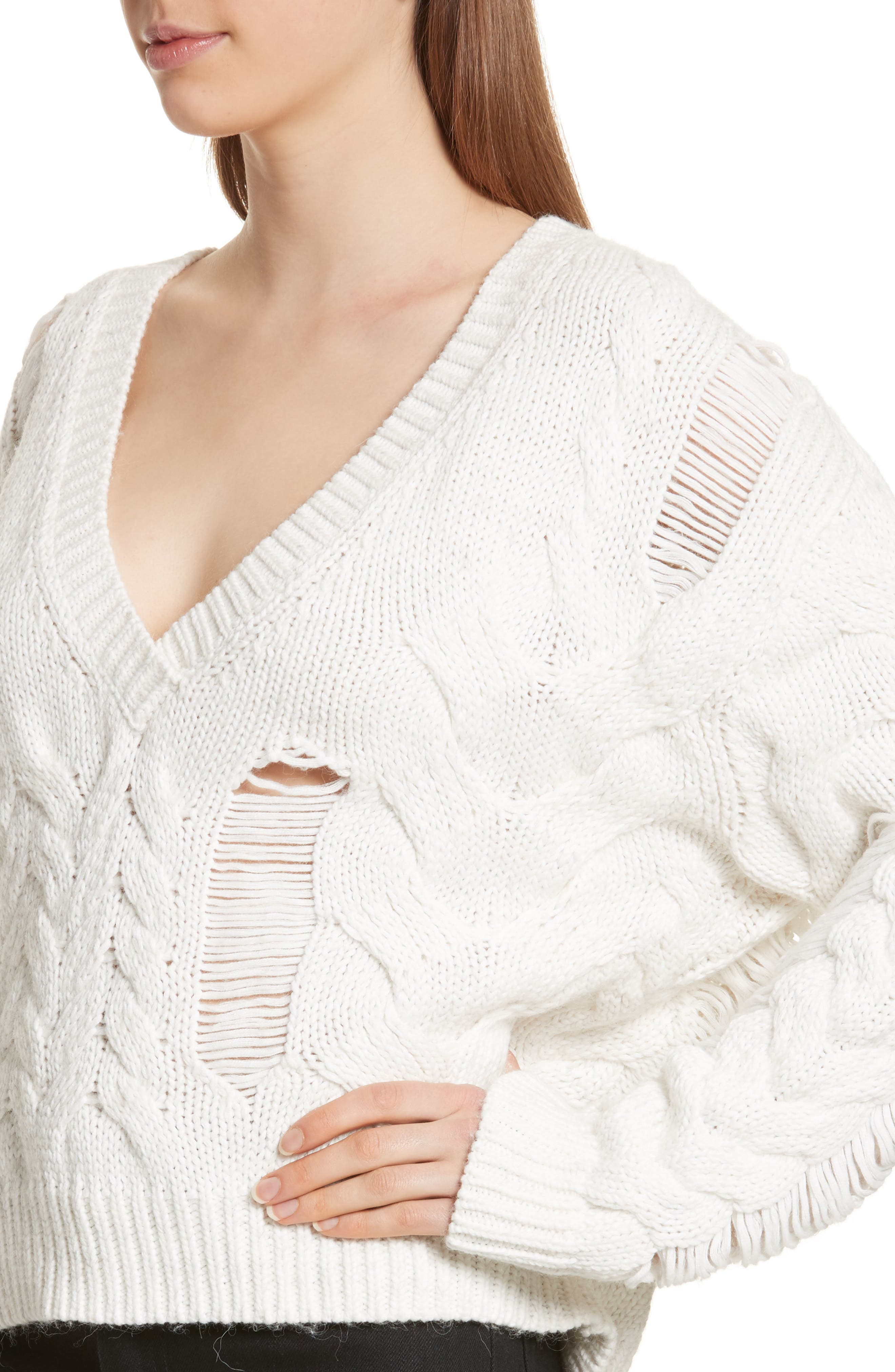 Fighla Distressed Sweater,                             Alternate thumbnail 4, color,                             010