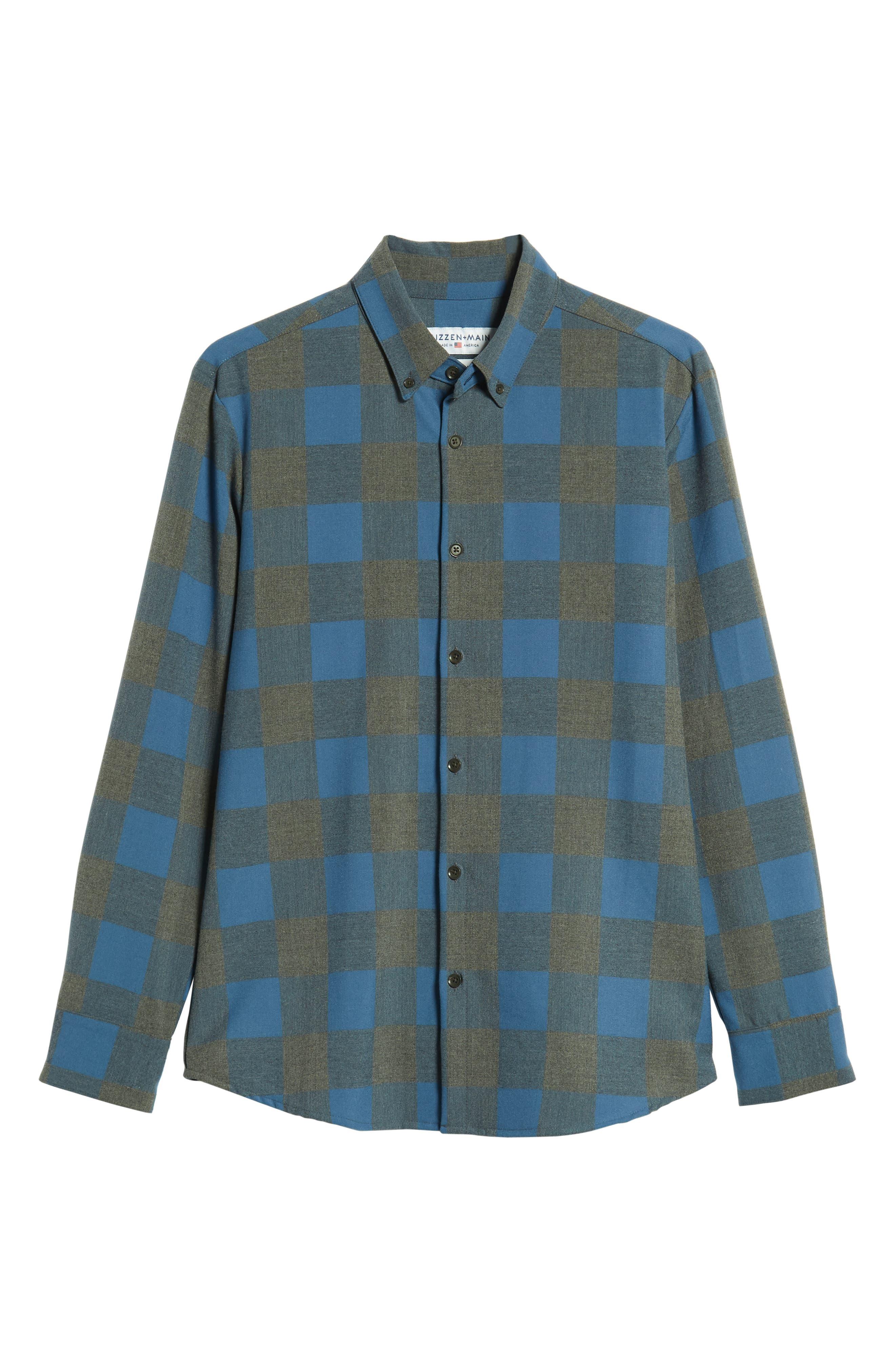 Sierra Regular Fit Flannel Sport Shirt,                             Alternate thumbnail 5, color,                             GREY