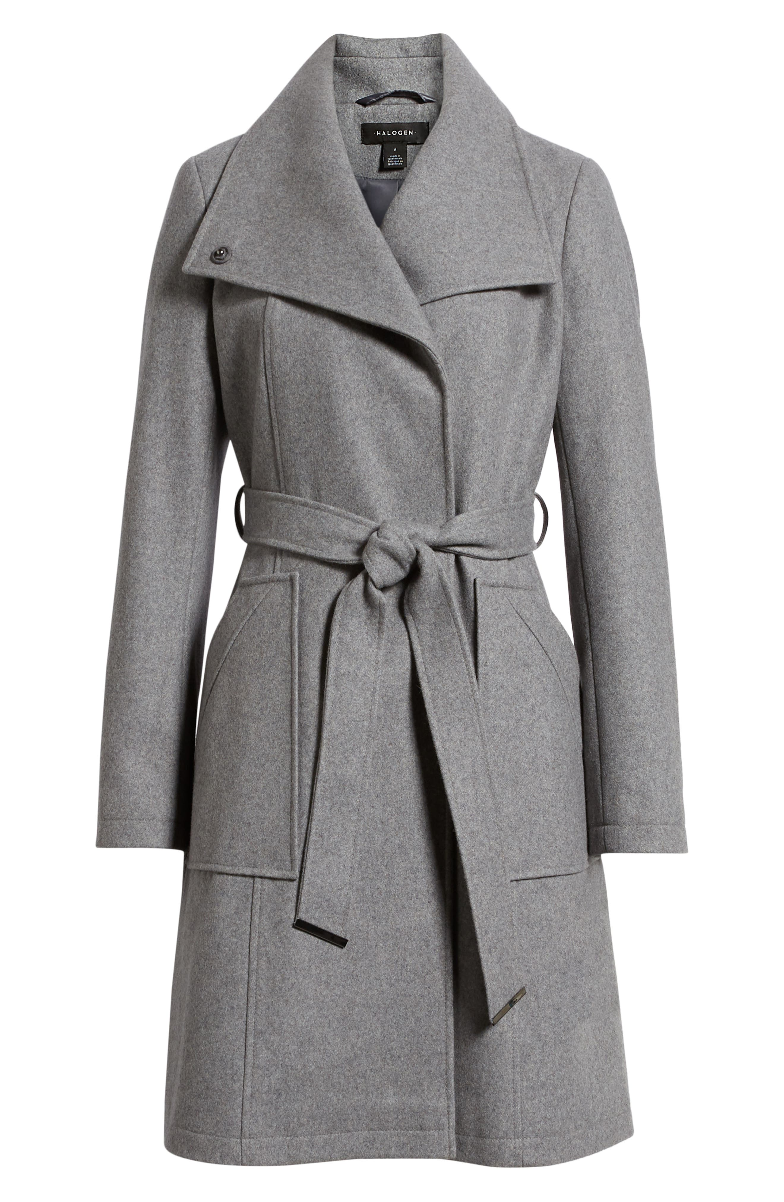 Belted Wool Blend Coat,                             Alternate thumbnail 6, color,                             GREY