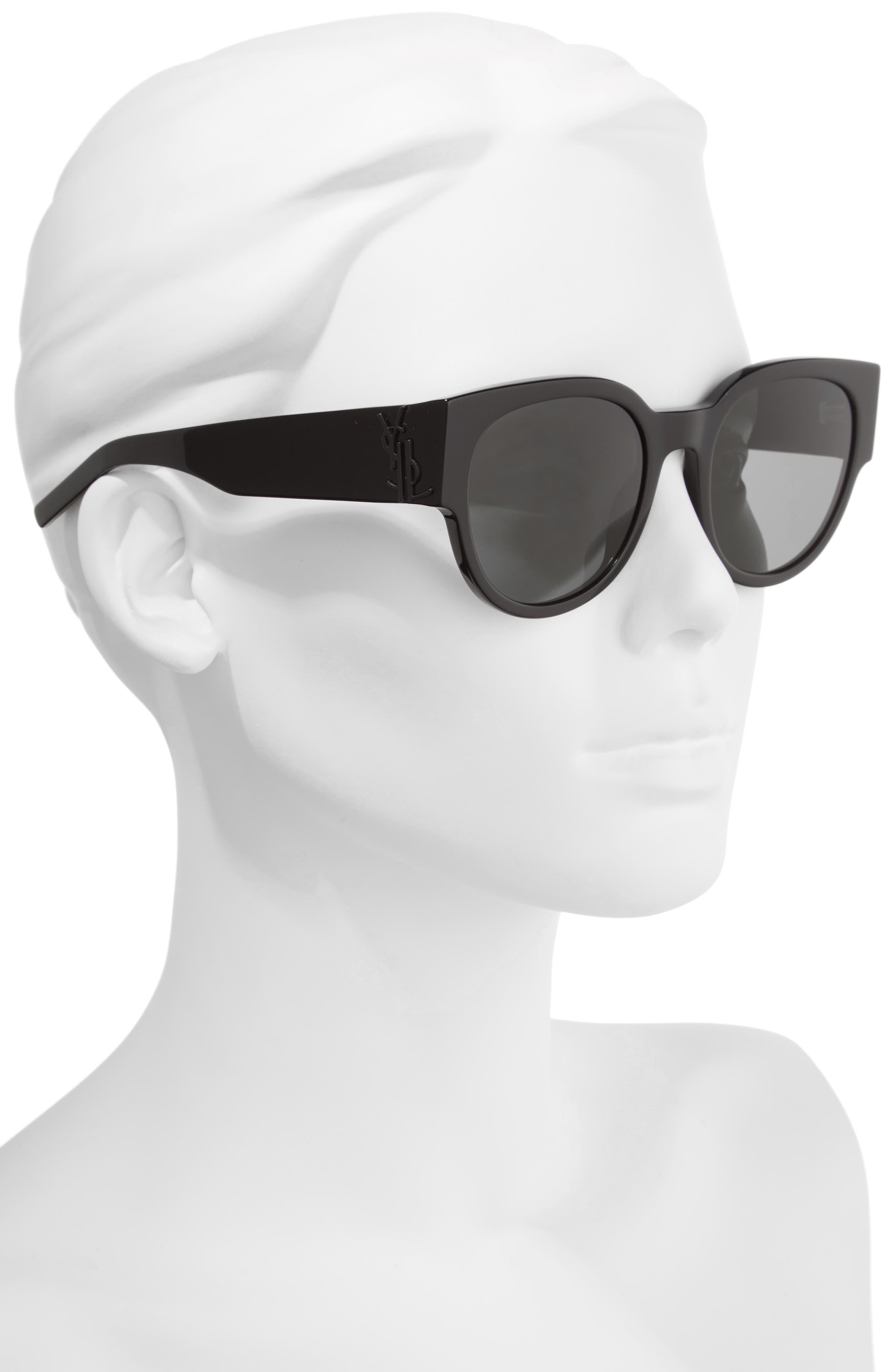 SL M19 54mm Cat Eye Sunglasses,                             Alternate thumbnail 2, color,                             BLACK