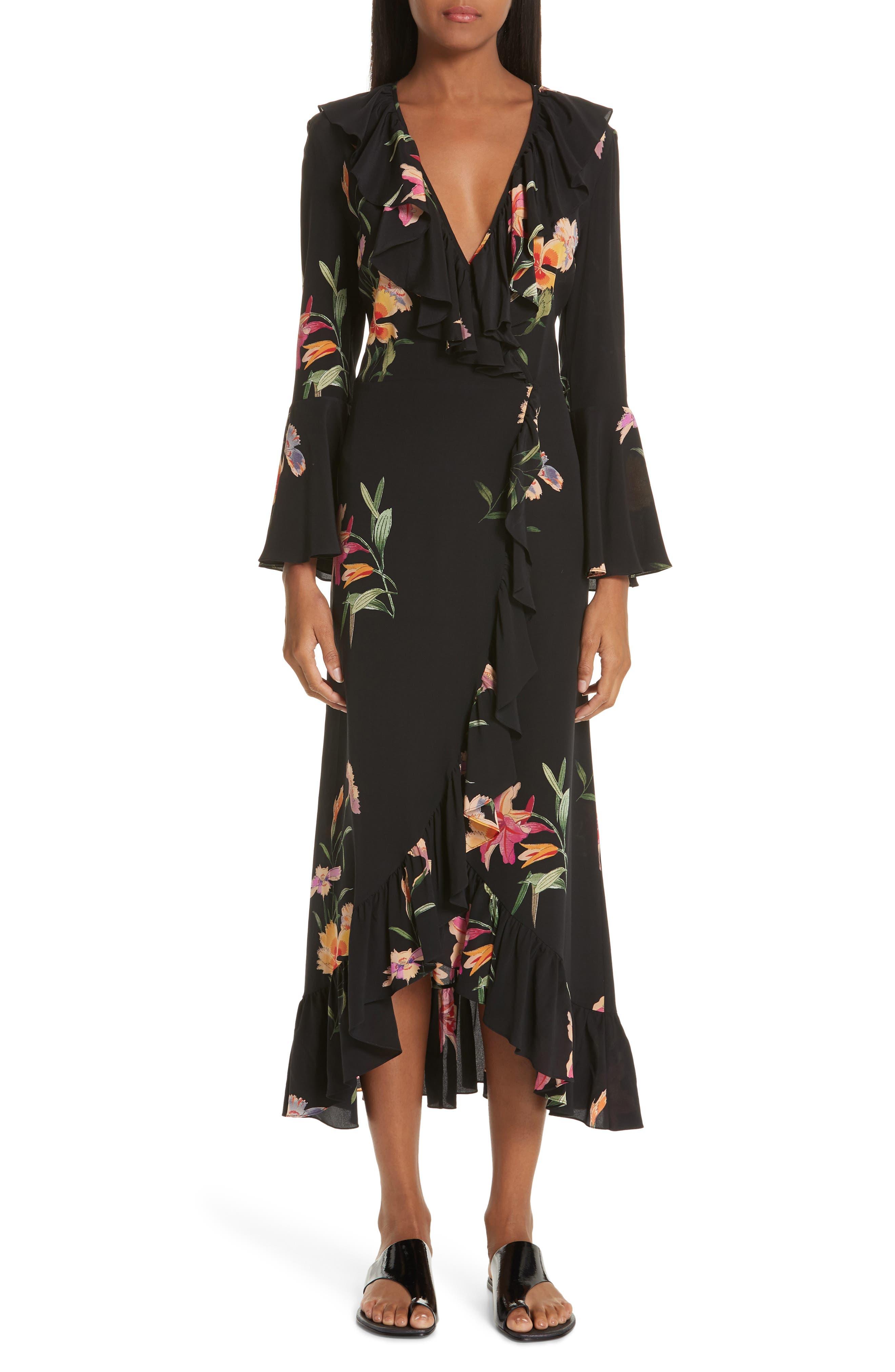 Etro Floral Print Ruffle Hem Silk Dress
