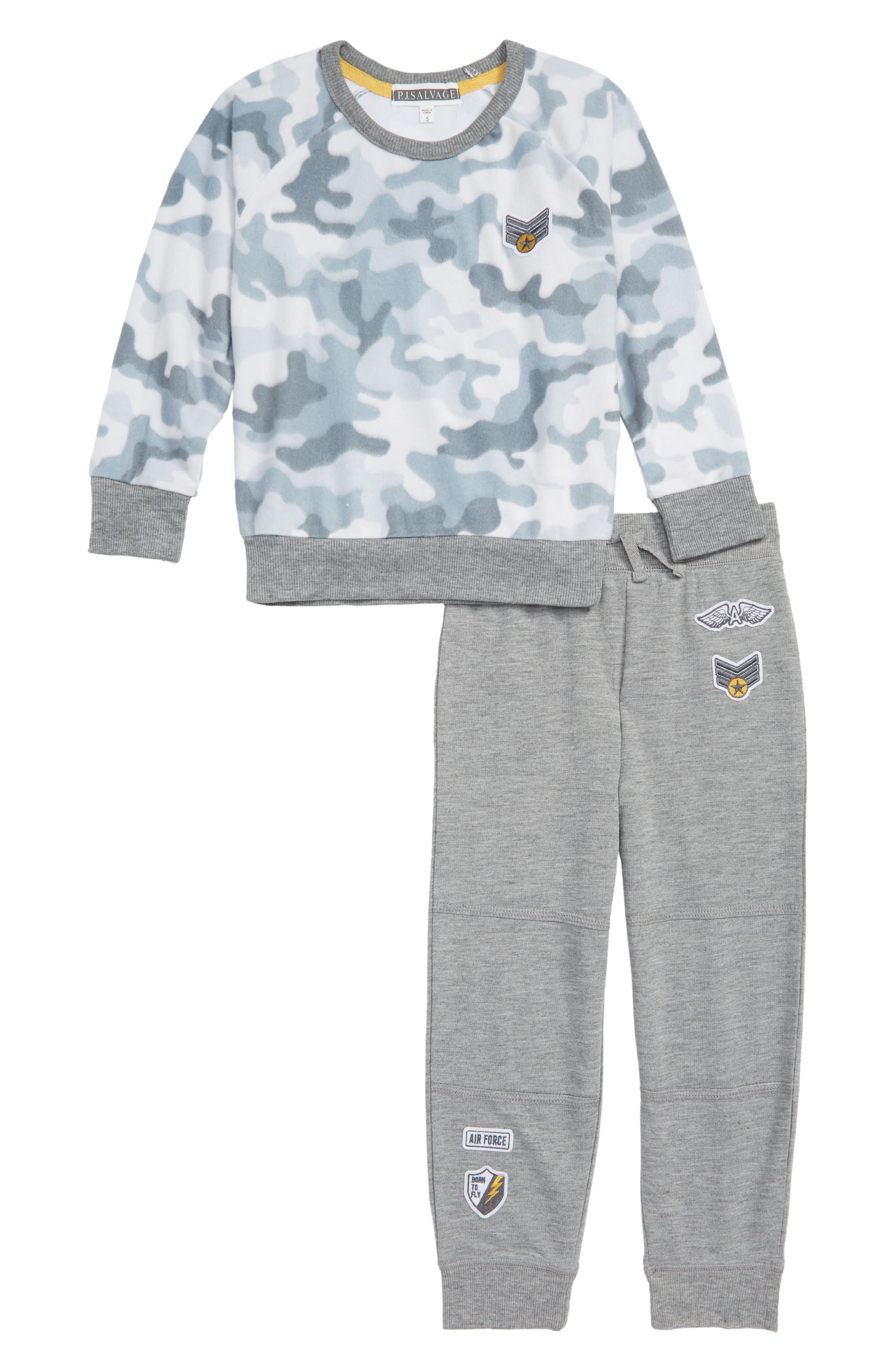 Boys Pj Salvage Camo Cool TwoPiece Pajamas