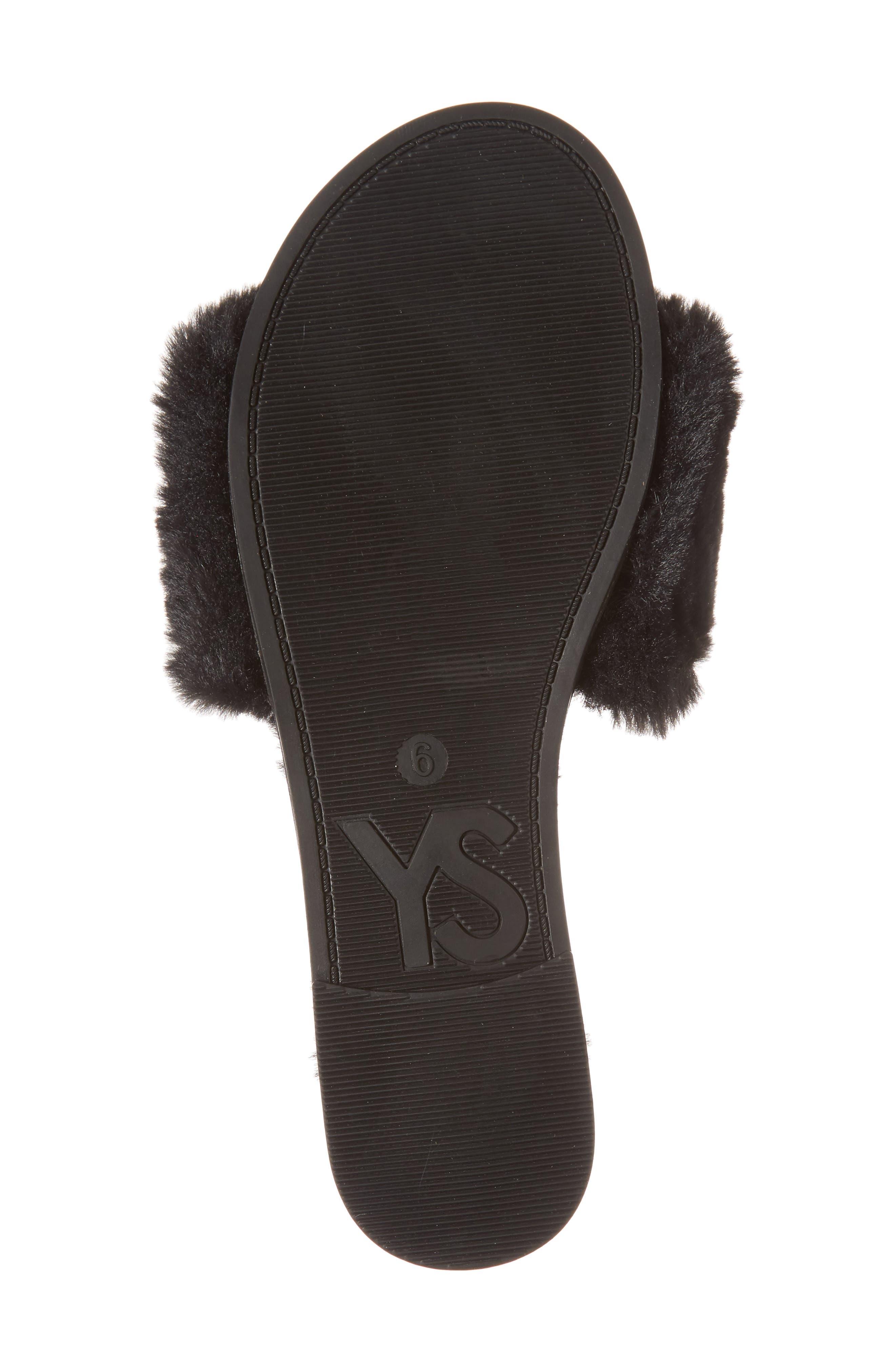 Rose Faux Fur Slide Sandal,                             Alternate thumbnail 6, color,                             BLACK FAUX FUR