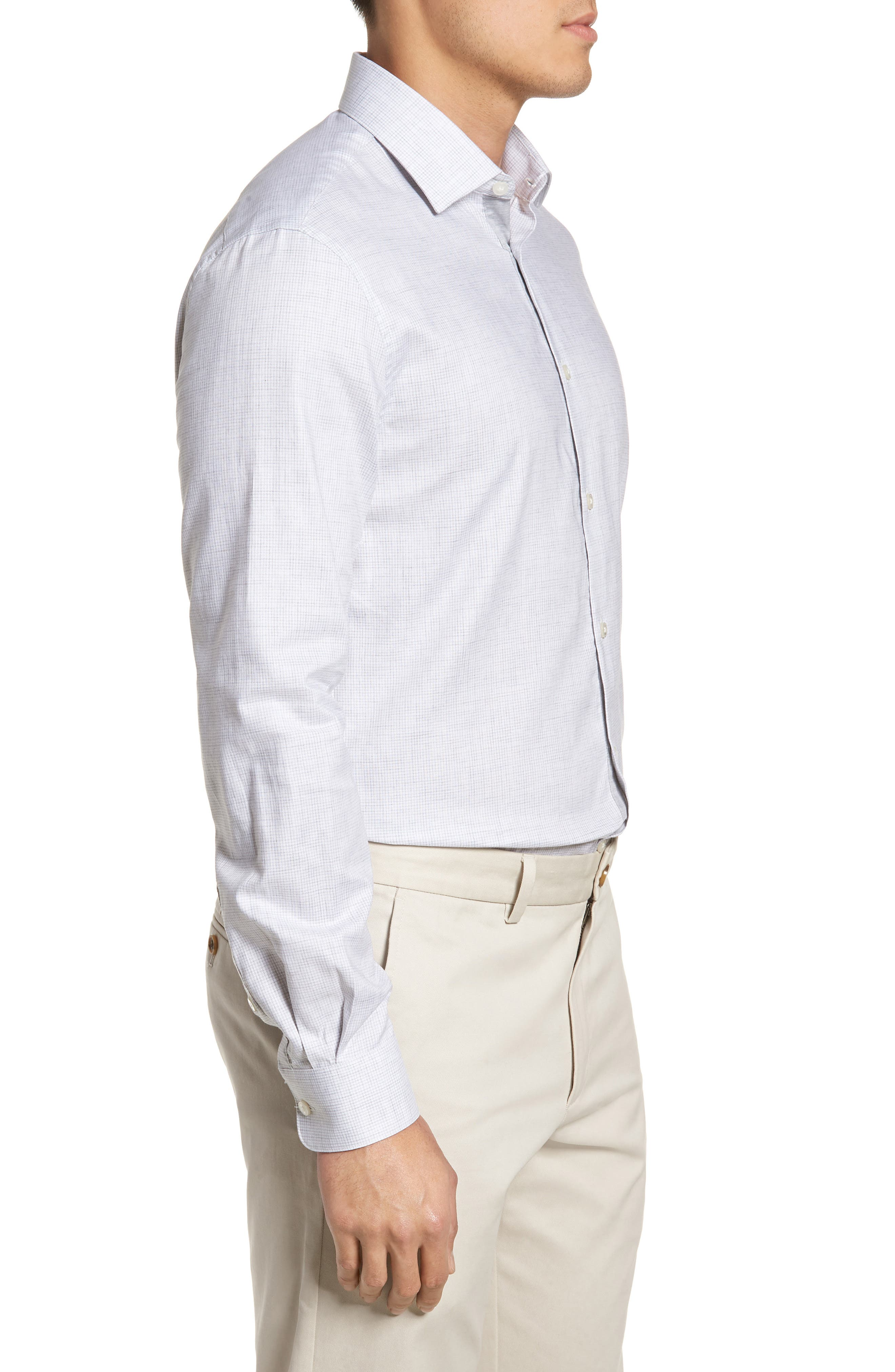 Slim Fit Microcheck Dress Shirt,                             Alternate thumbnail 4, color,