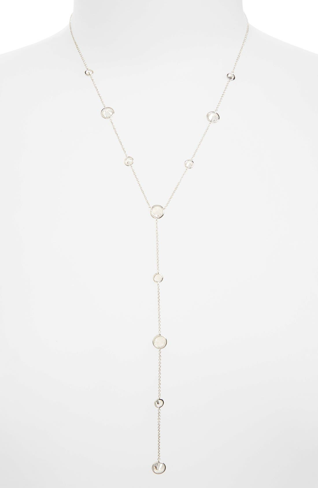 Cubic Zirconia Bezel Y-Necklace,                             Main thumbnail 1, color,                             SILVER