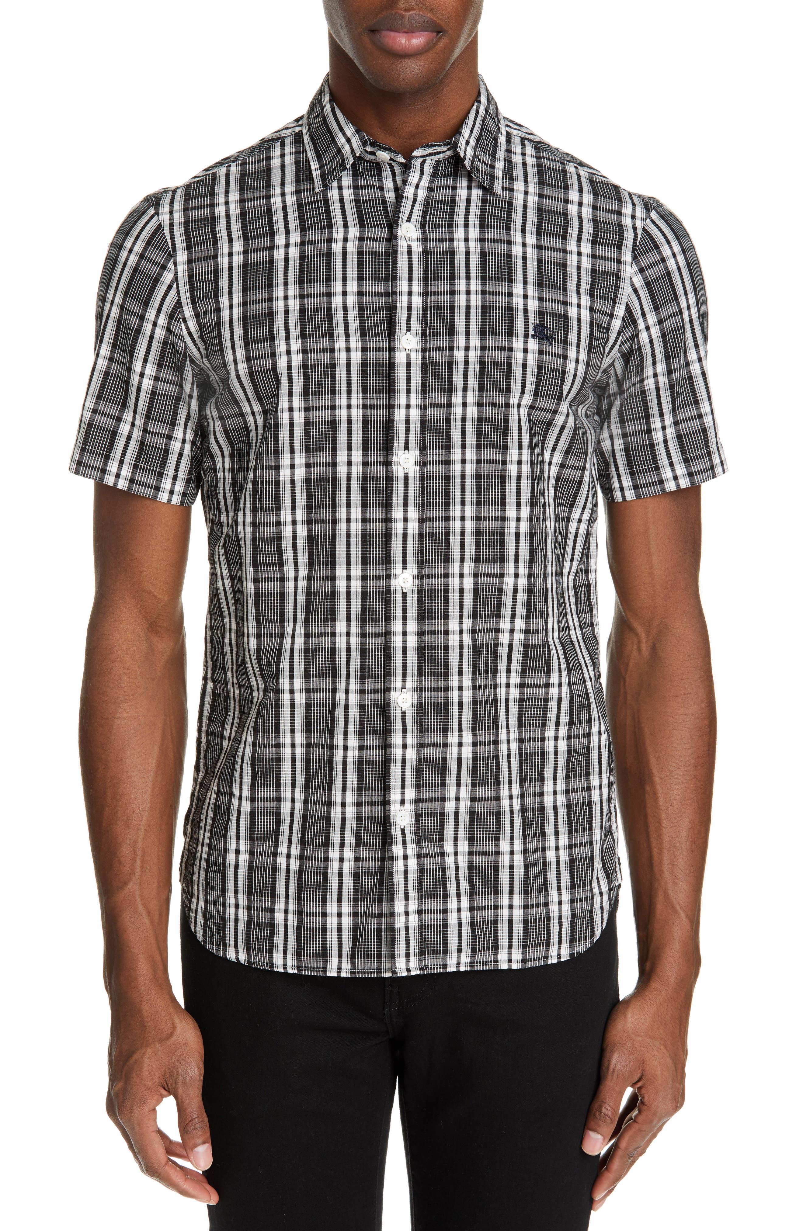 Burberry Heybridge Plaid Slim Fit Sport Shirt, Black