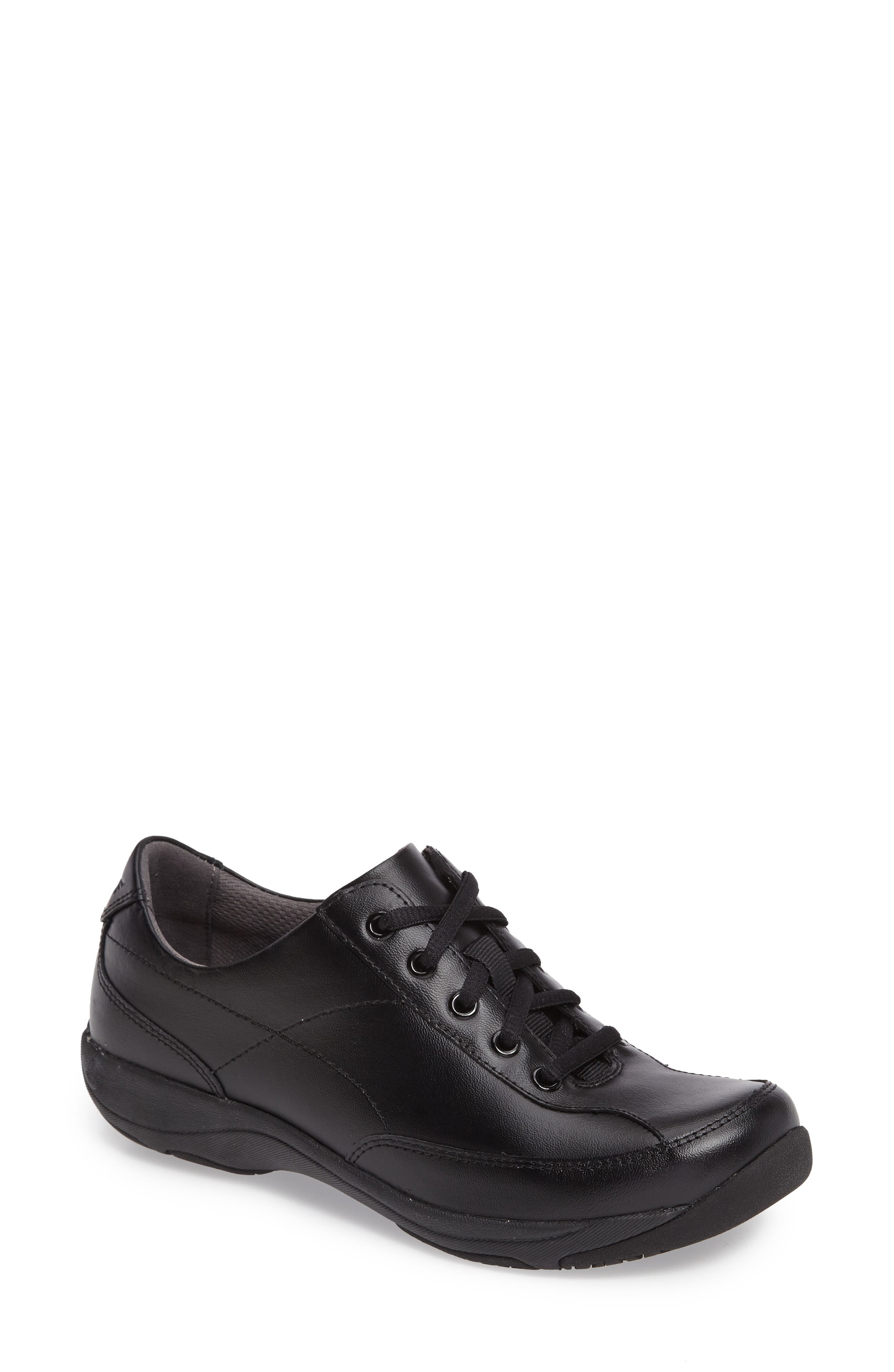 Emma Lace-Up Sneaker,                         Main,                         color, BLACK LEATHER