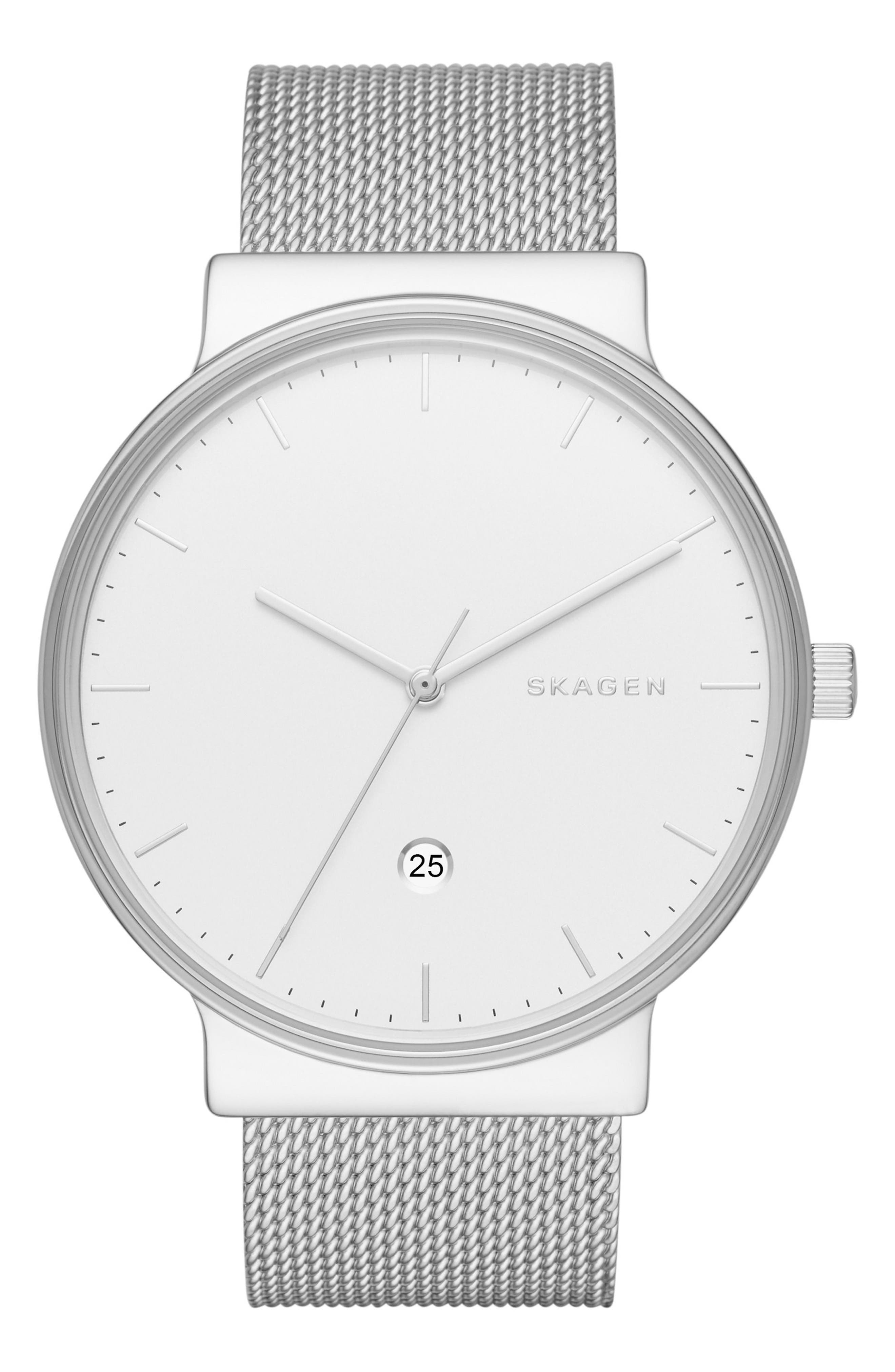 'Ancher' Round Mesh Strap Watch, 40mm,                             Main thumbnail 1, color,                             SILVER/ WHITE/ SILVER