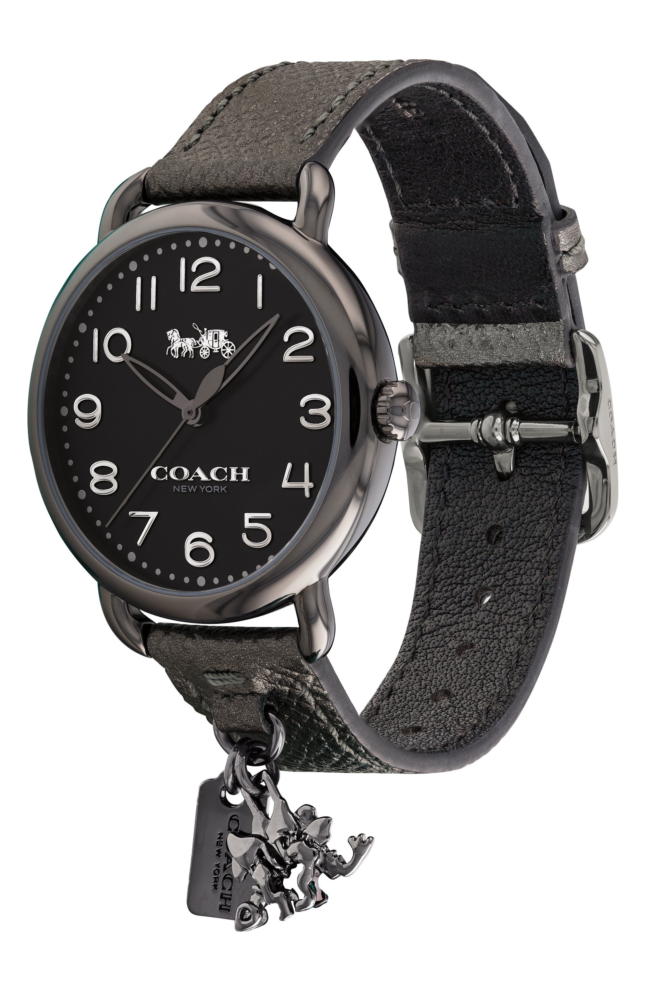 Delancey Charm Detail Leather Strap Watch, 36mm,                             Alternate thumbnail 3, color,                             040