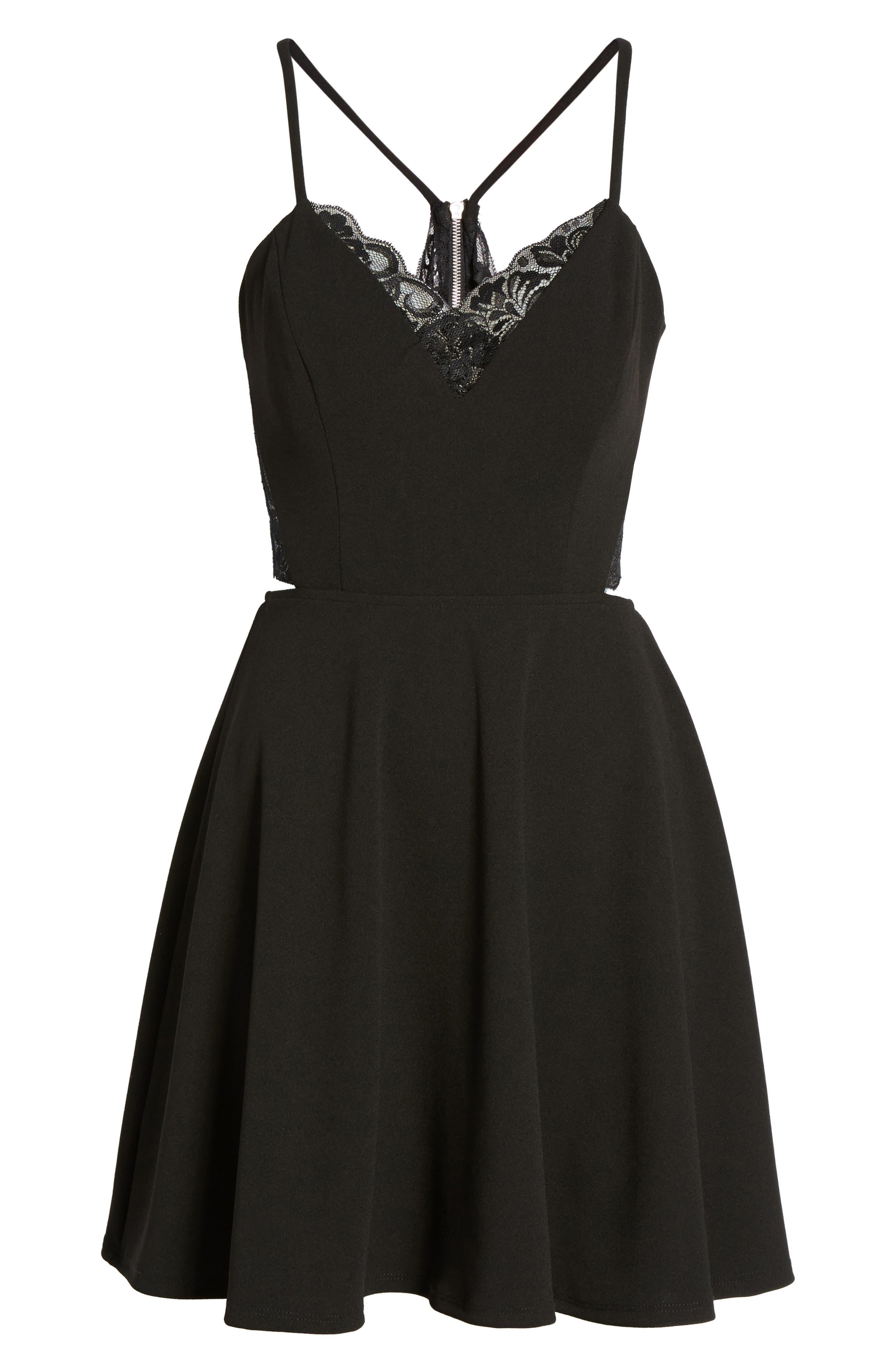Lace Trim Skater Dress,                             Alternate thumbnail 6, color,                             002