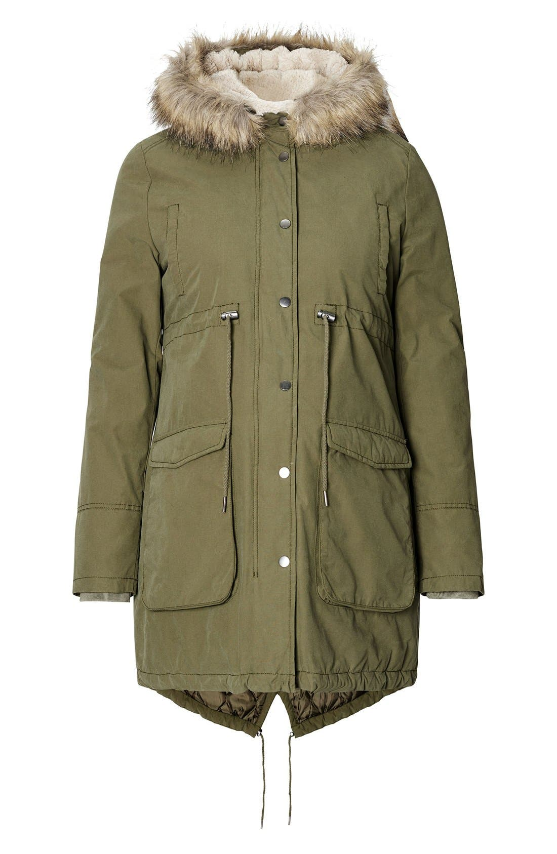 Malin Maternity Jacket with Faux Fur Trim,                         Main,                         color, ARMY