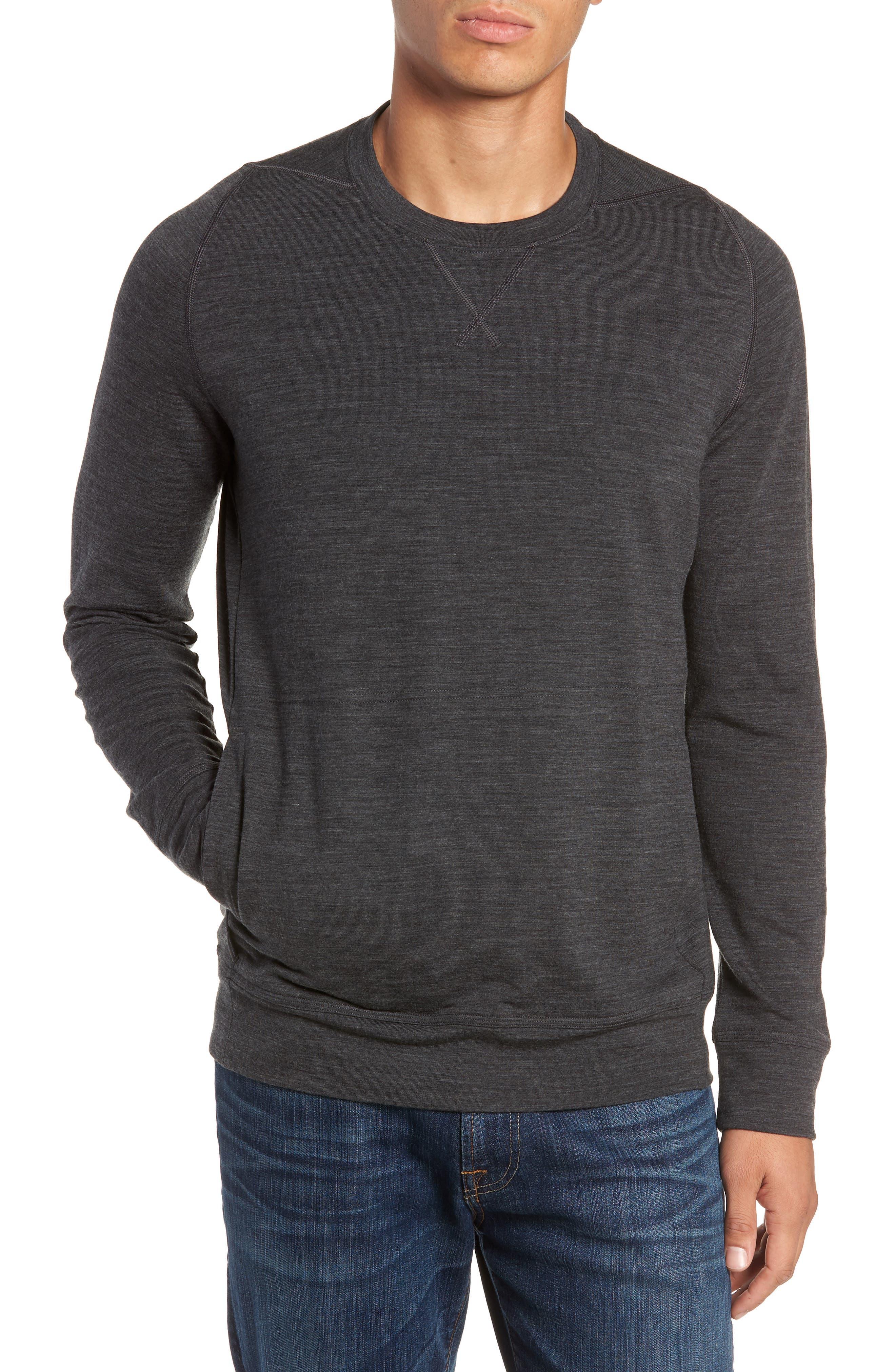 Shifter Merino Wool Blend Crewneck Sweater,                         Main,                         color, JET HEATHER