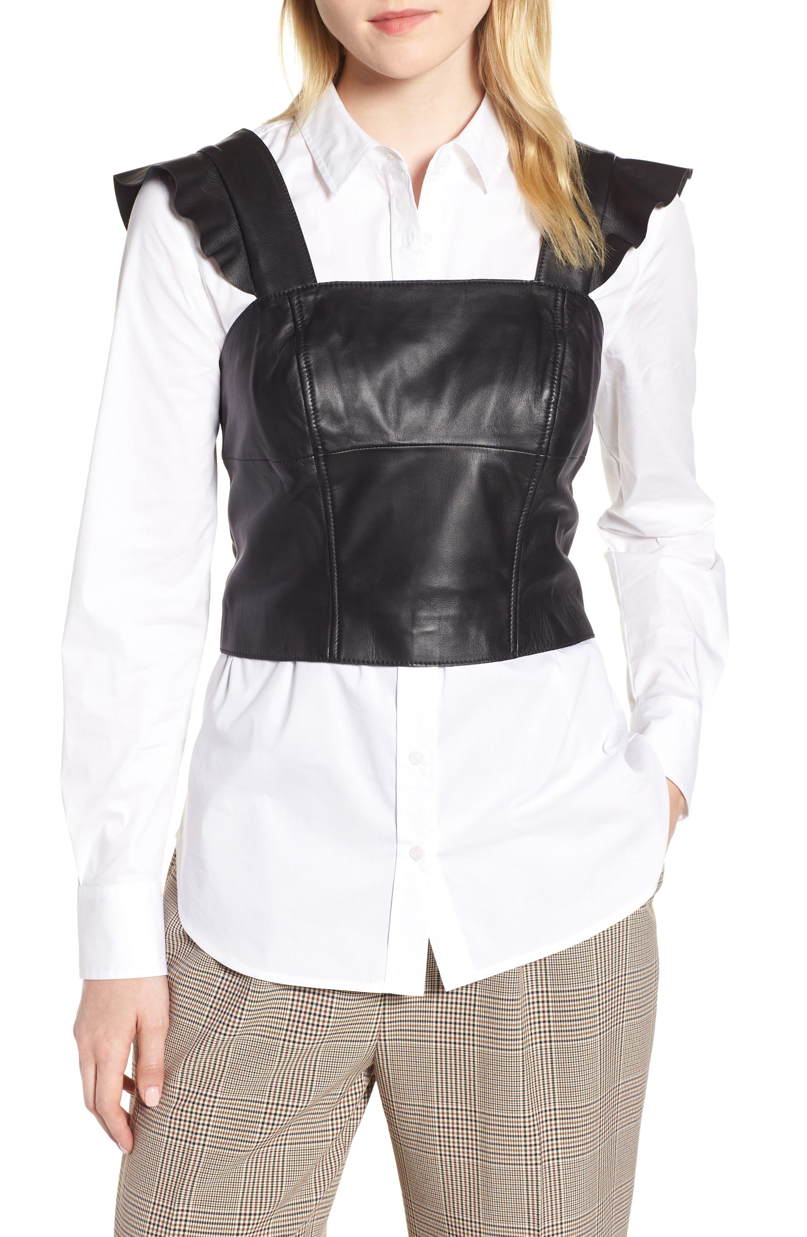 Flutter Sleeve Leather Bustier,                         Main,                         color, BLACK