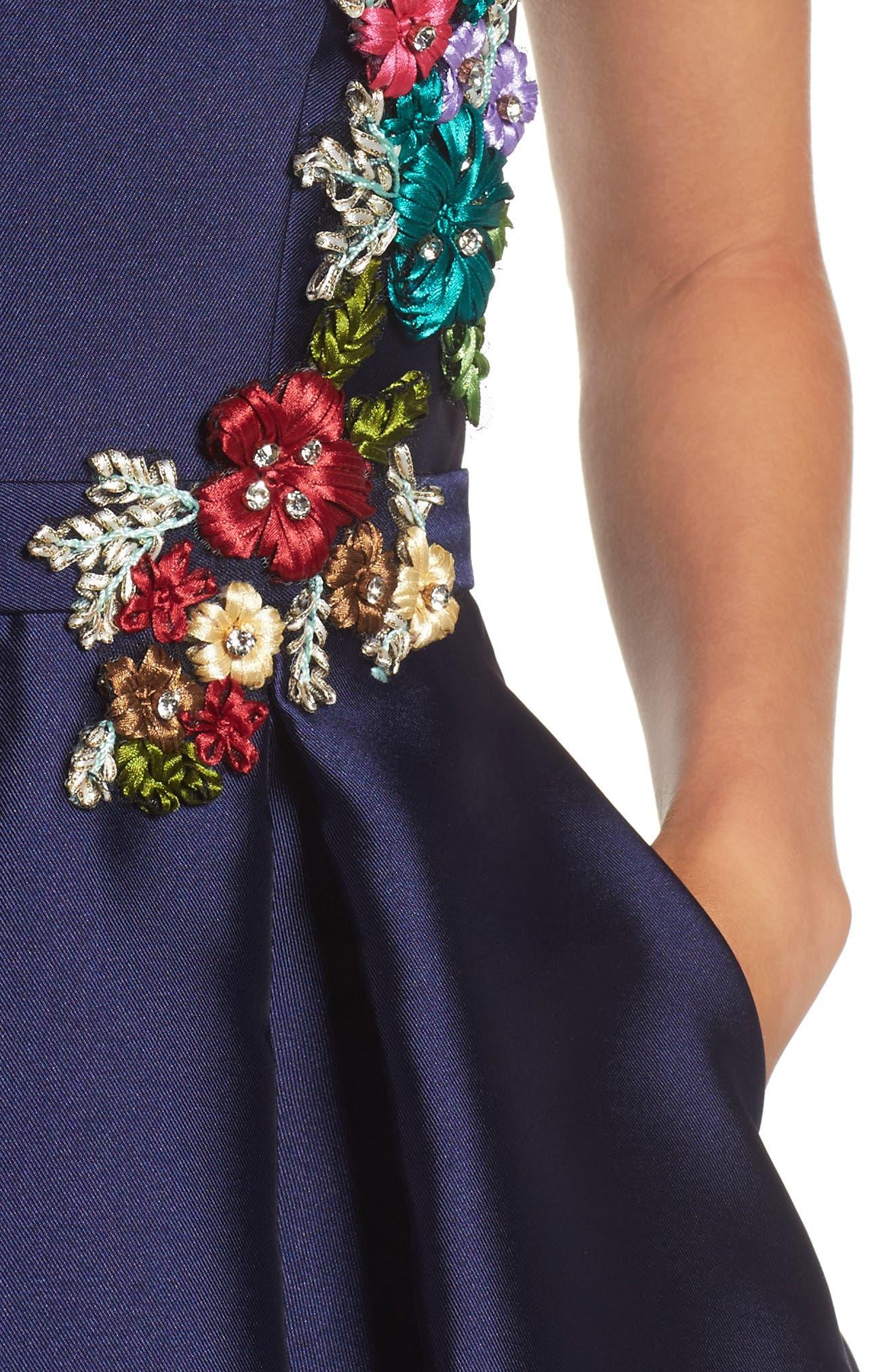 Micado Floral Appliqué Fit & Flare Minidress,                             Alternate thumbnail 4, color,                             MIDNIGHT