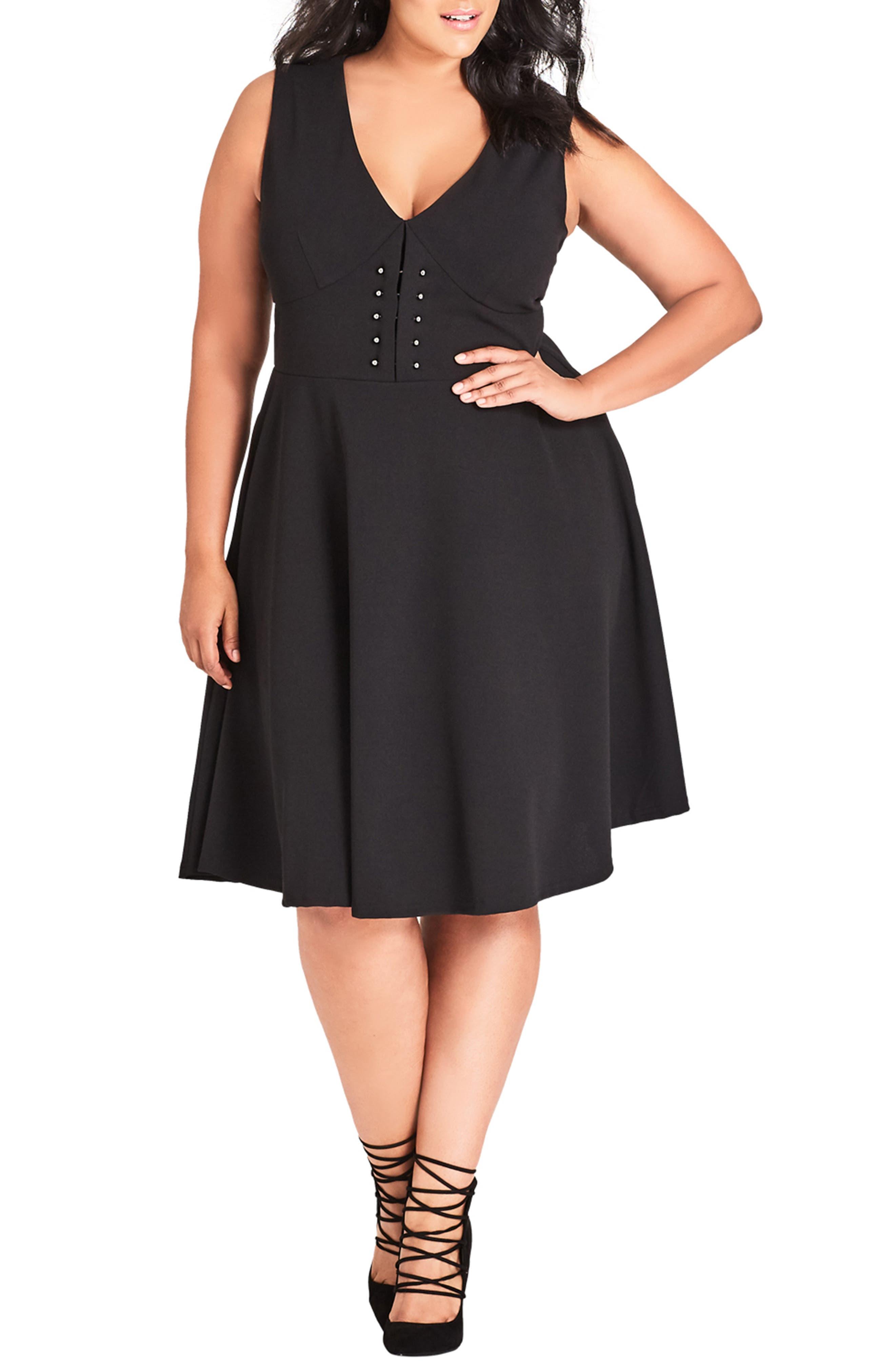 Plus Size City Chic Barbell Dress, Black