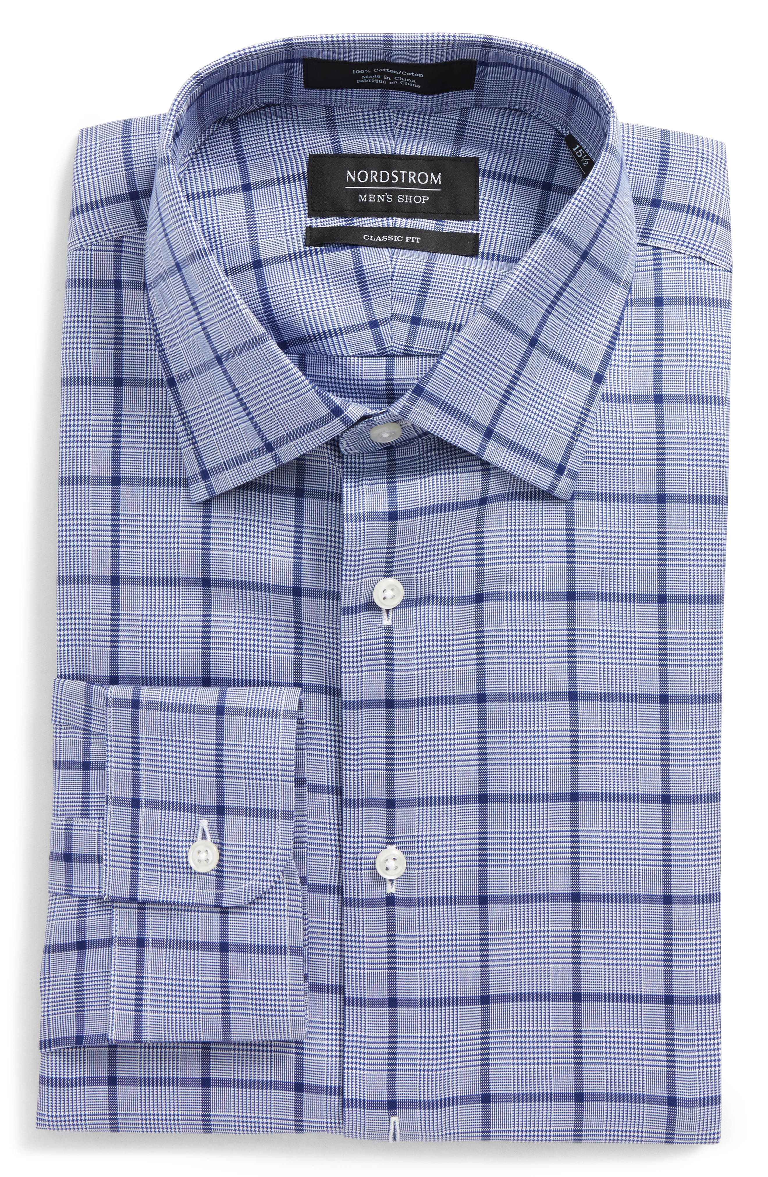 Classic Fit Check Dress Shirt,                             Alternate thumbnail 5, color,                             420