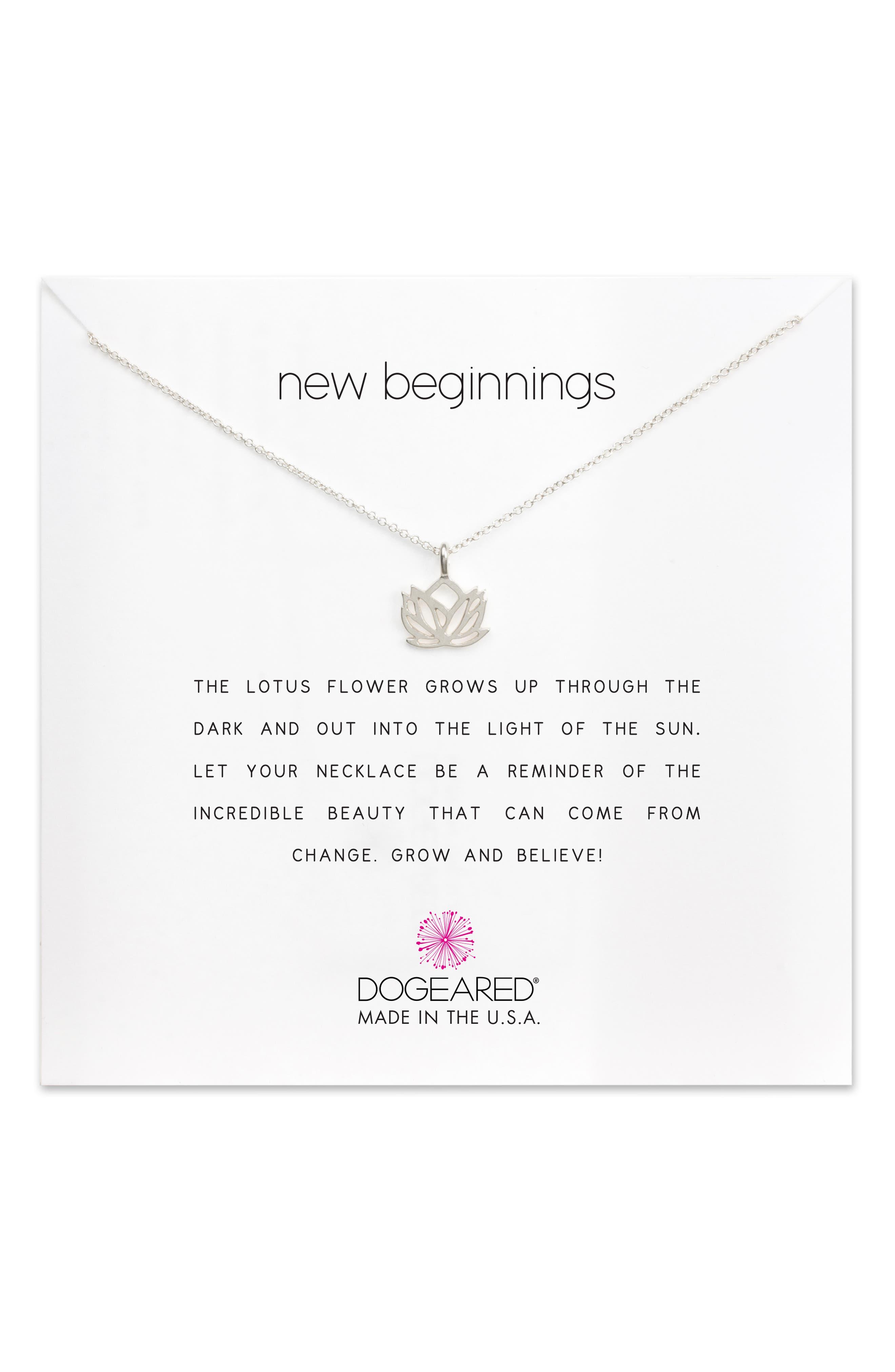Lotus Reminder Pendant Necklace,                             Alternate thumbnail 5, color,                             042