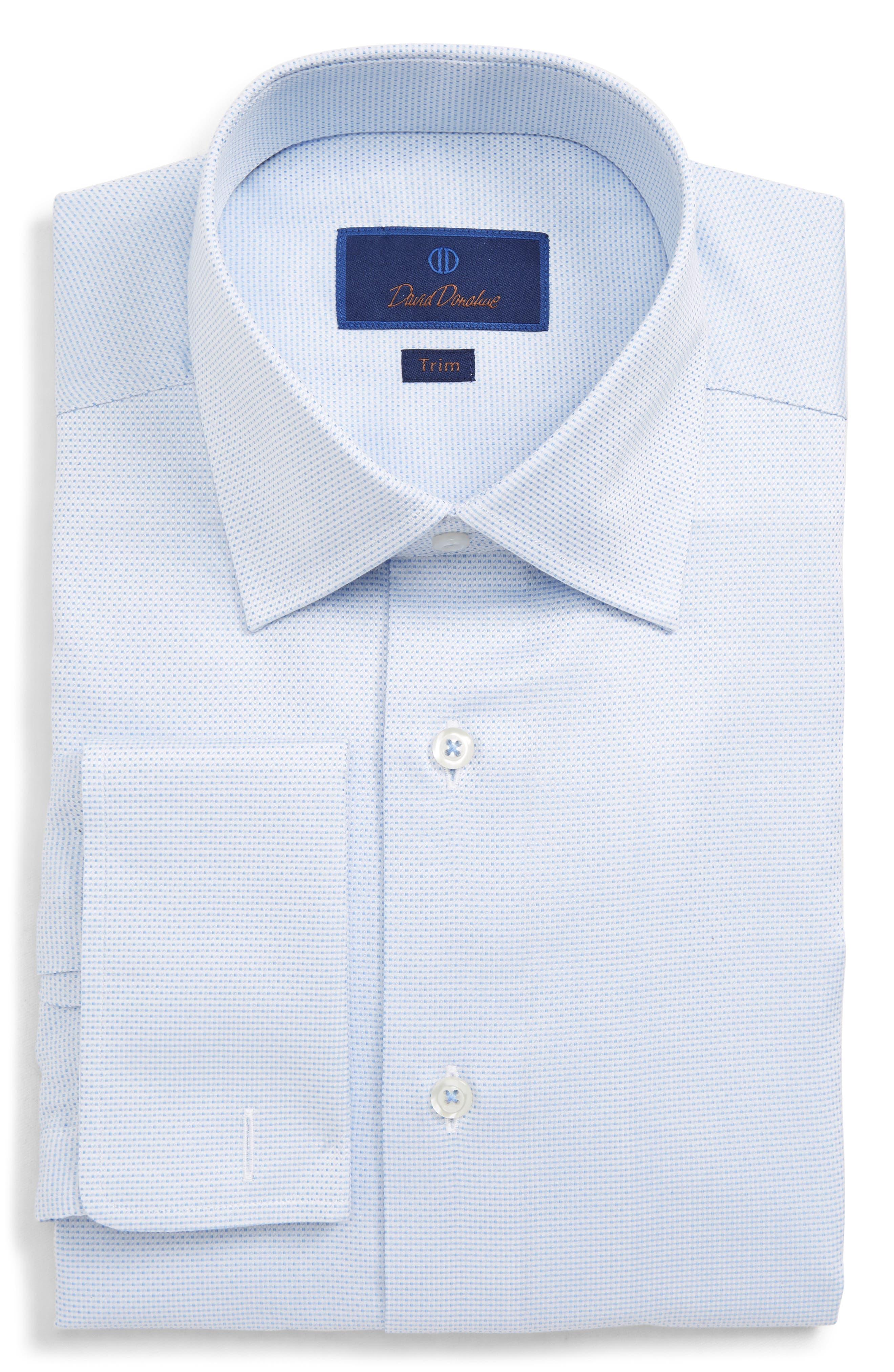 DAVID DONAHUE Men'S Trim-Fit Micro-Dobby Dress Shirt With French Cuffs in Sky
