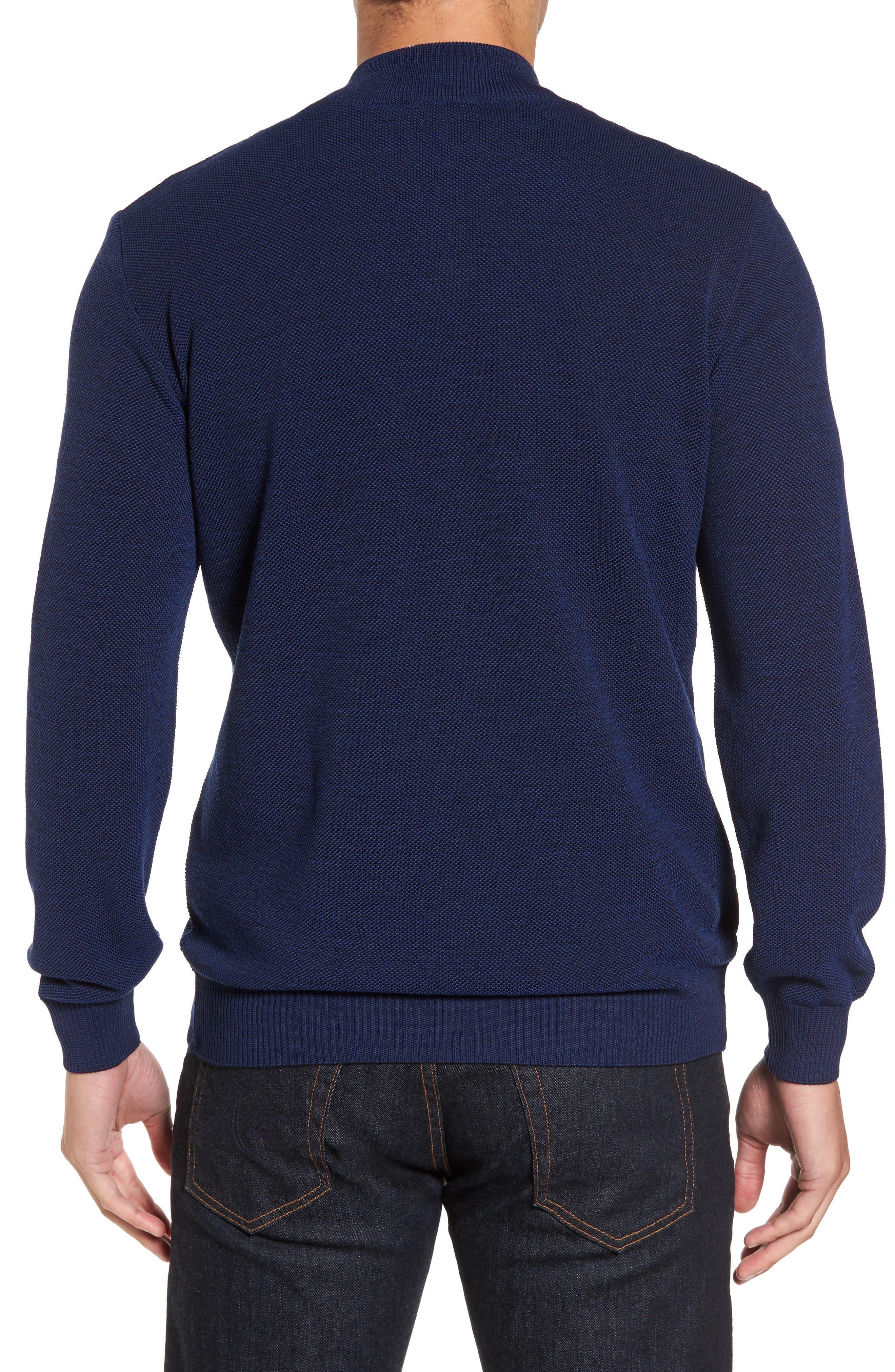 Paul&Shark Piqué Zip Wool Sweater,                             Alternate thumbnail 2, color,                             400