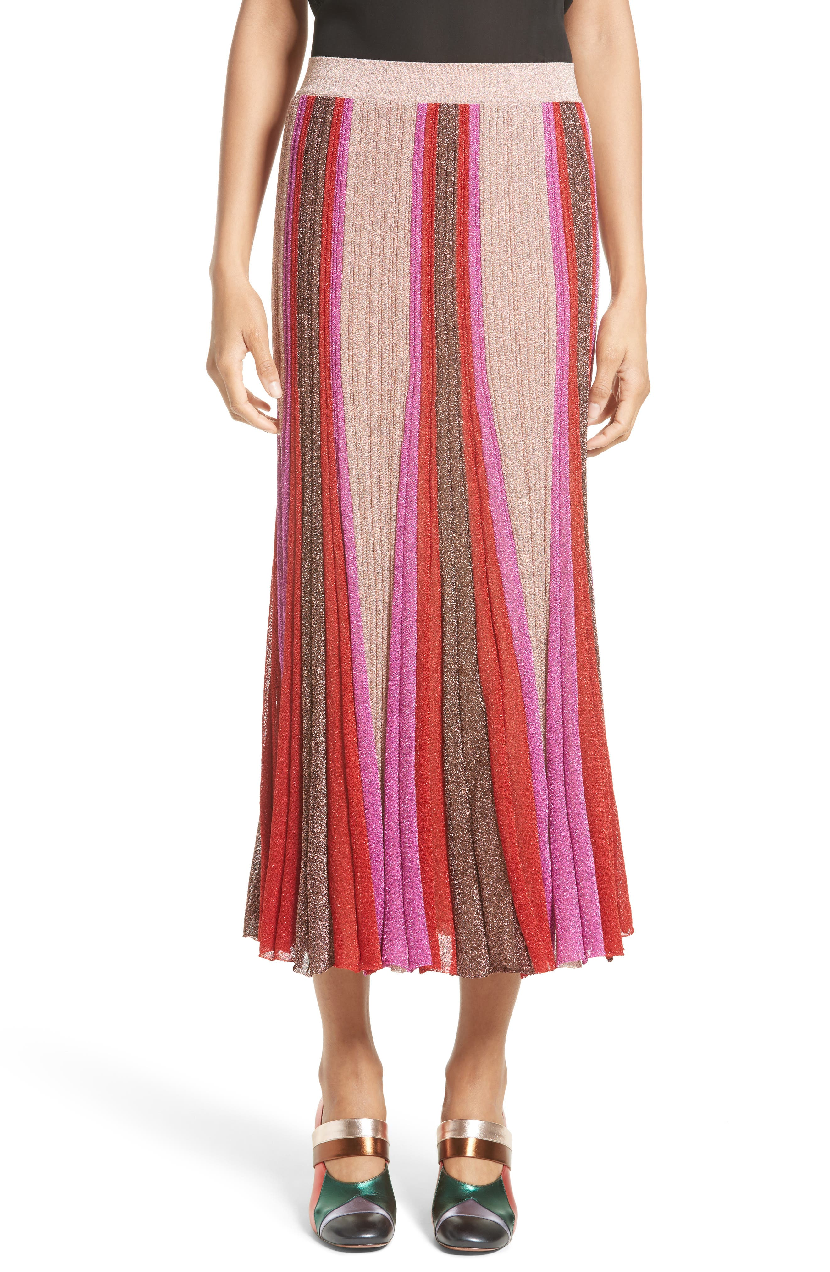 Metallic Knit Colorblock Pleated Skirt,                             Main thumbnail 1, color,                             650