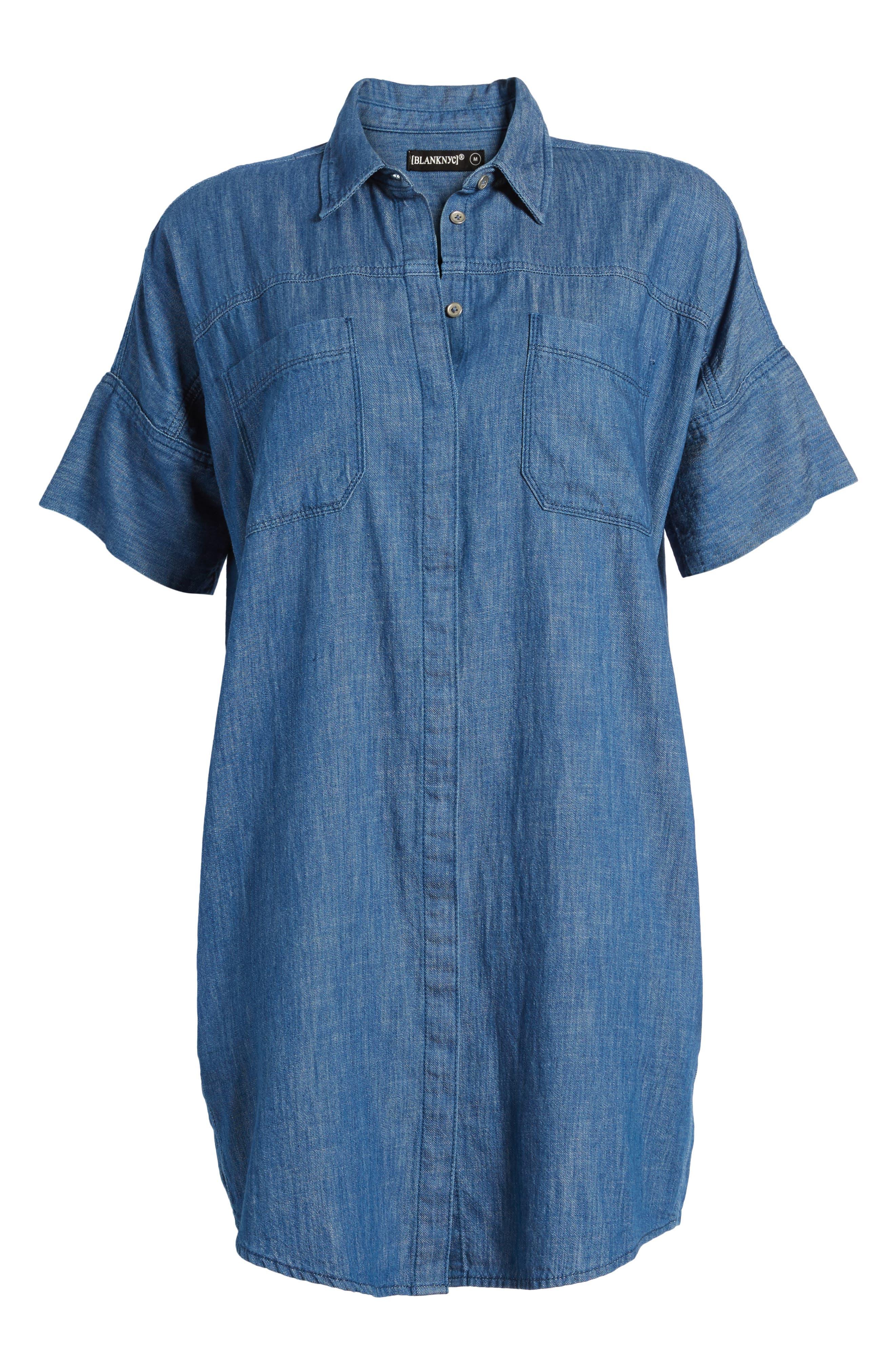 Denim Shirtdress,                             Alternate thumbnail 6, color,