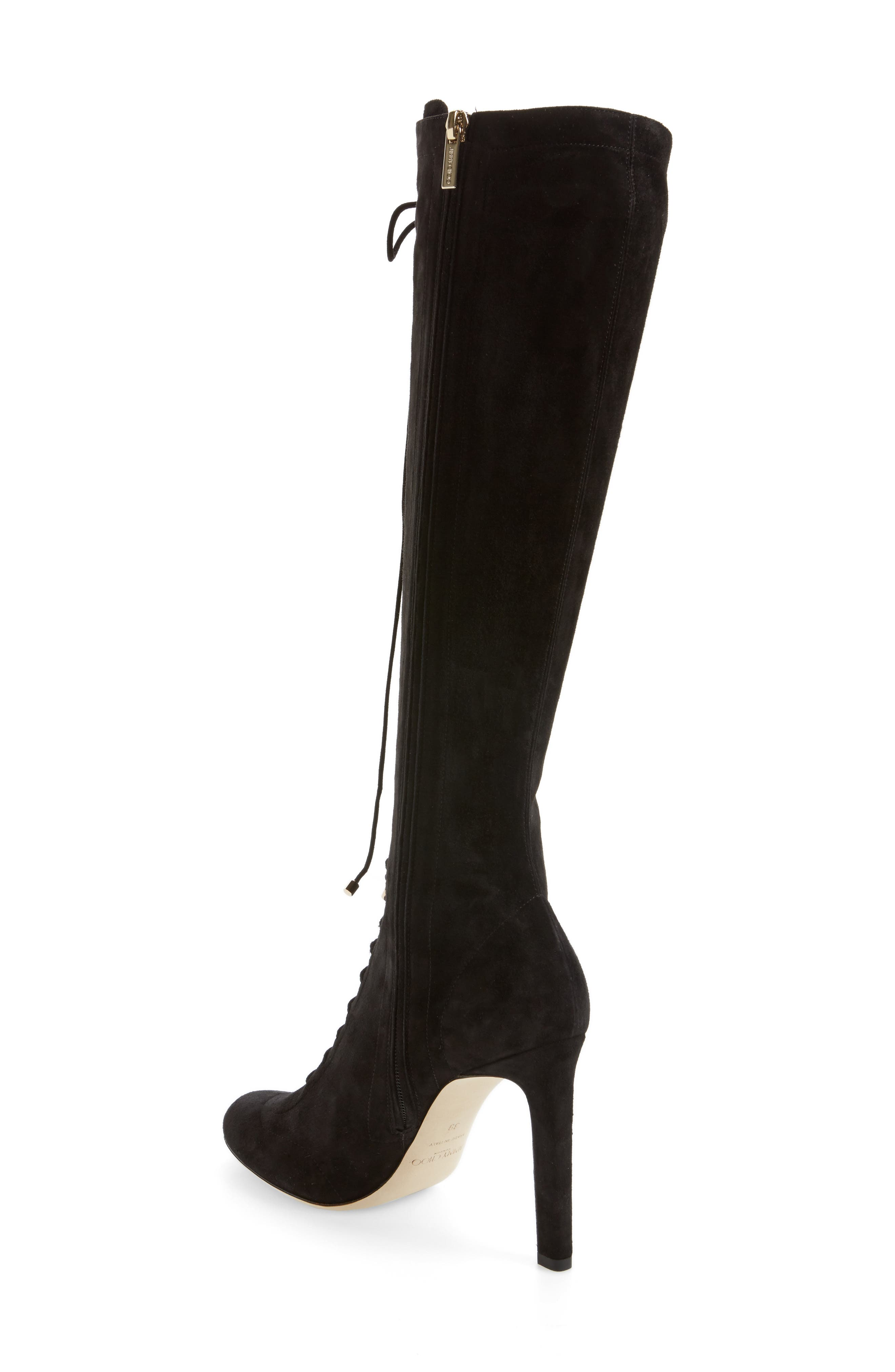 Desiree Lace Up Knee High Boot,                             Alternate thumbnail 2, color,                             001