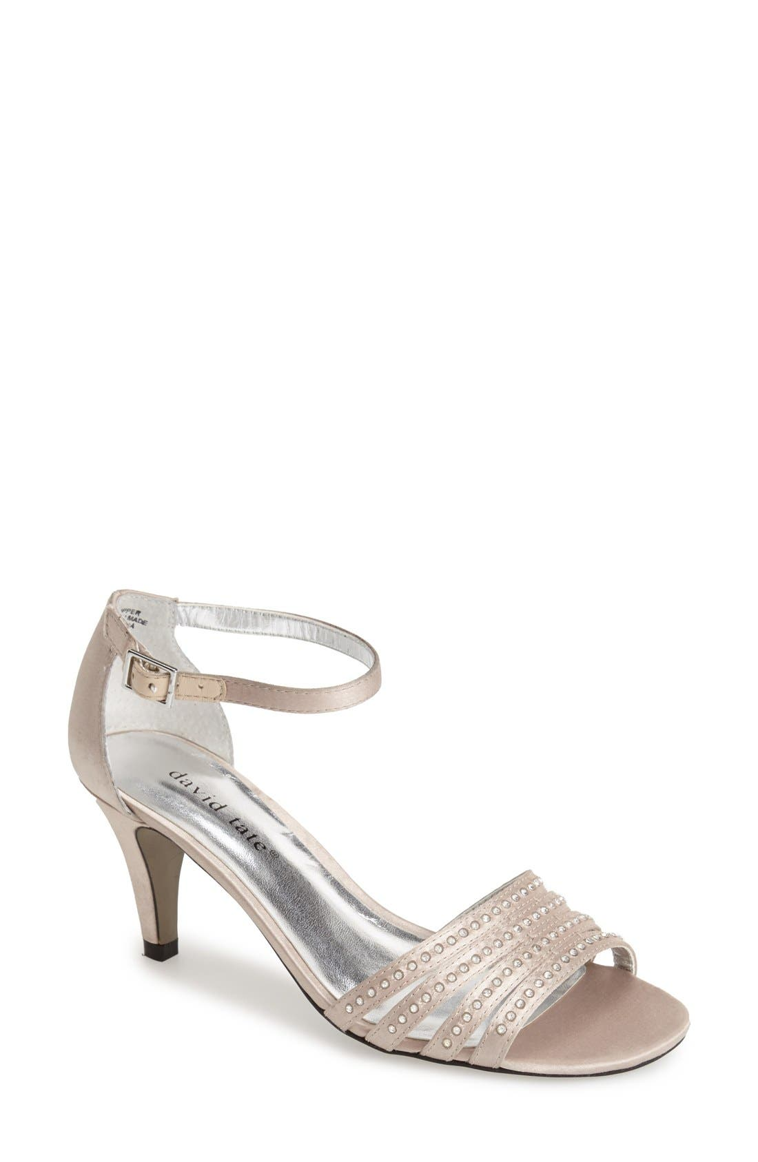 'Terra' Ankle Strap Sandal,                         Main,                         color, CHAMPAGNE SATIN
